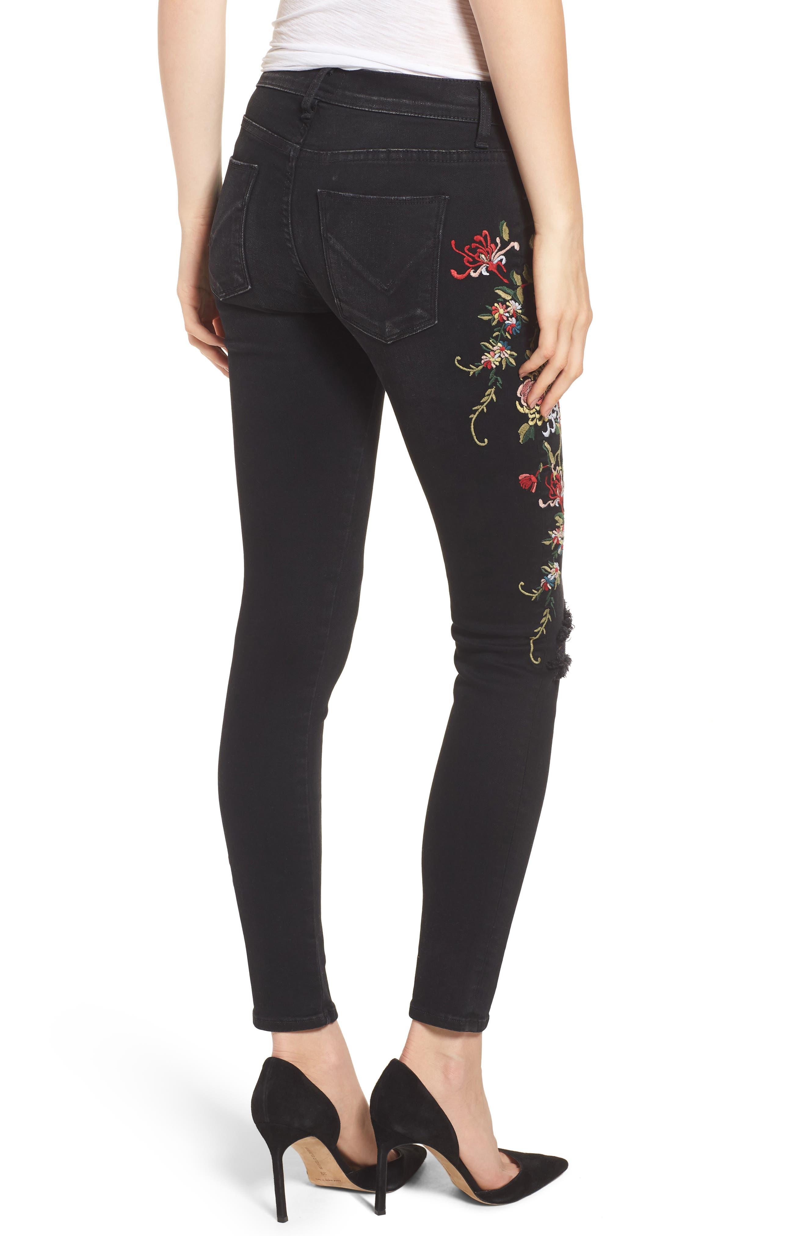 Alternate Image 2  - Hudson Jeans Nico Ankle Skinny Jeans (Noir Floret)