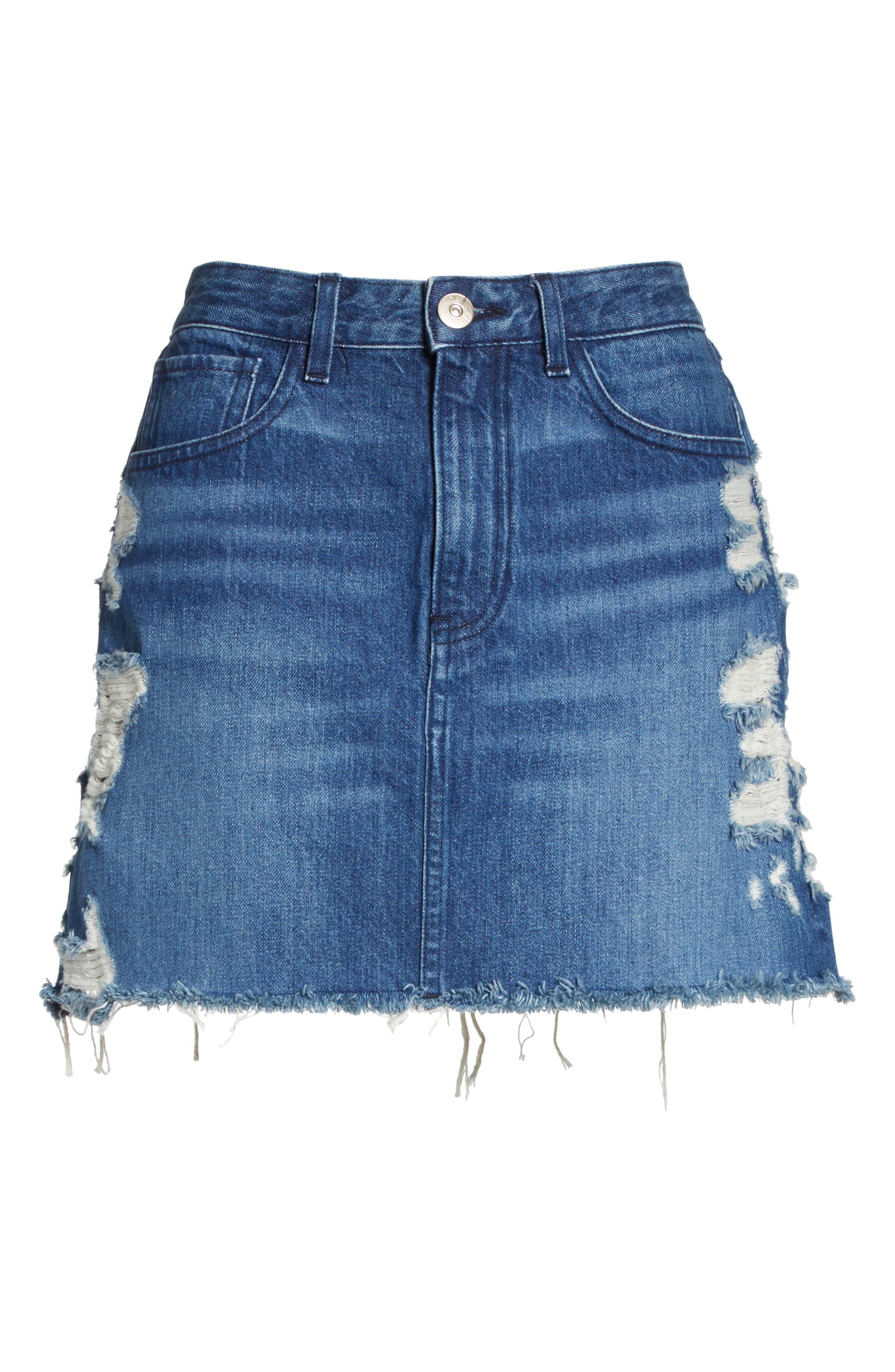 Celine Distressed Denim Skirt,                             Alternate thumbnail 6, color,                             Lela