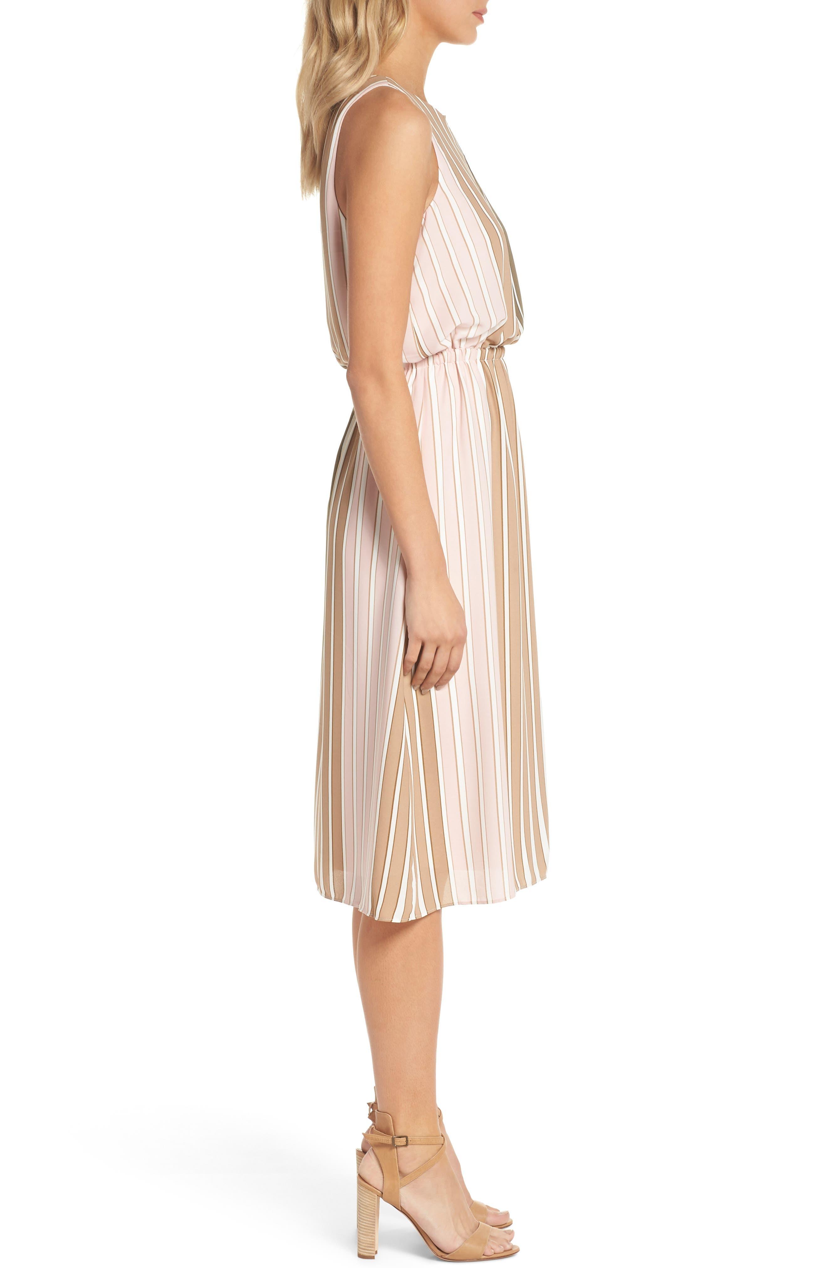 Blouson Midi Dress,                             Alternate thumbnail 3, color,                             Olive Multi