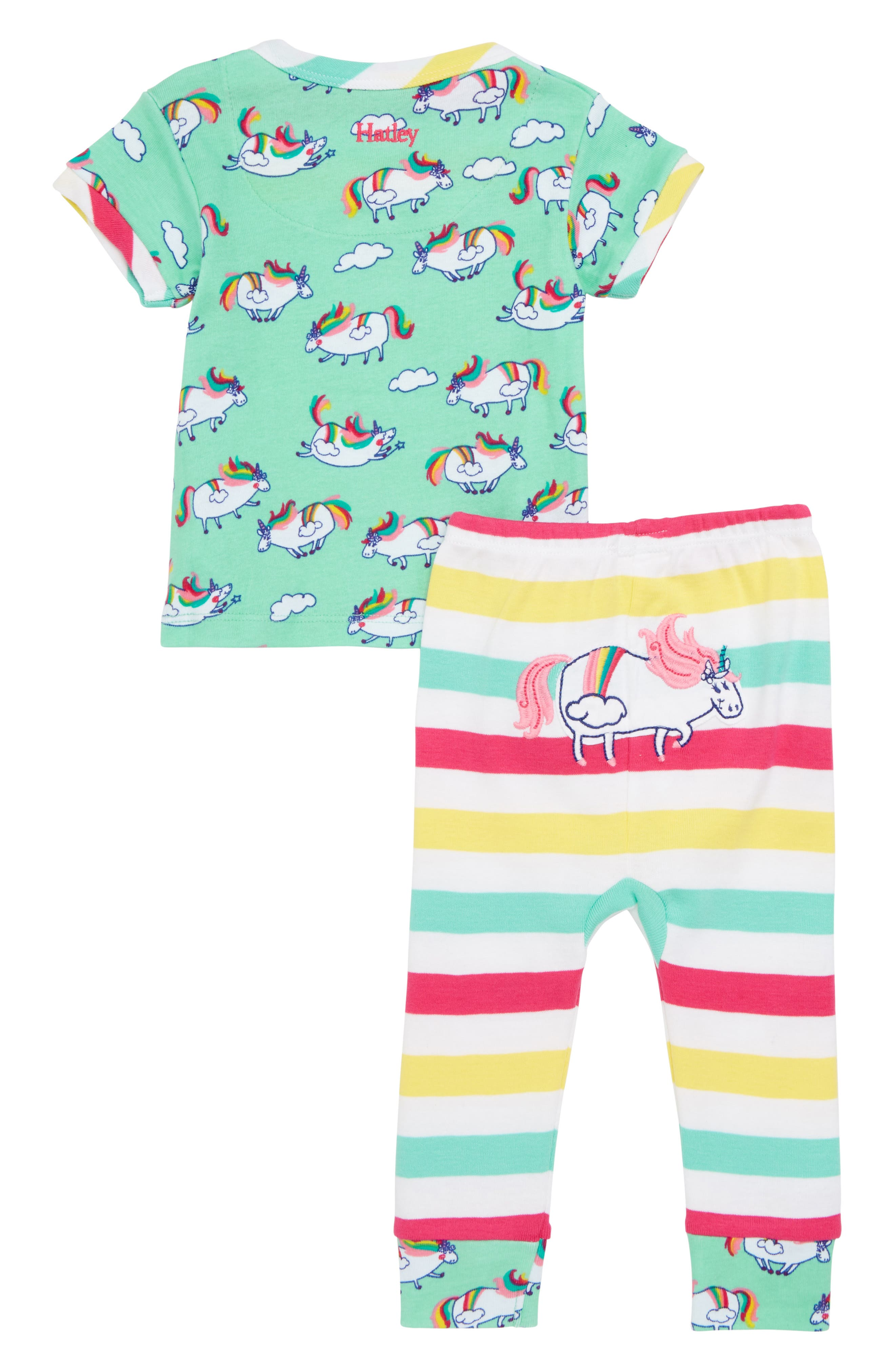 Unicorns & Stripes Fitted Two-Piece Pajamas Set,                             Alternate thumbnail 3, color,                             Roly Poly Unicorns