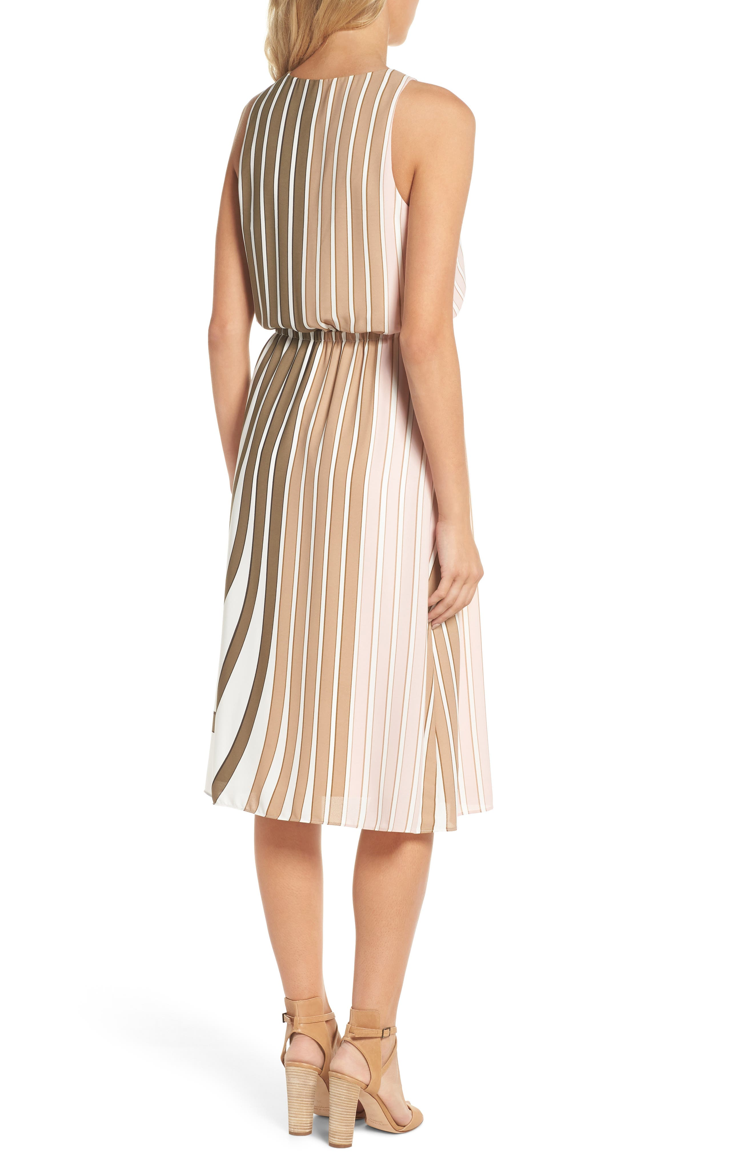 Blouson Midi Dress,                             Alternate thumbnail 2, color,                             Olive Multi