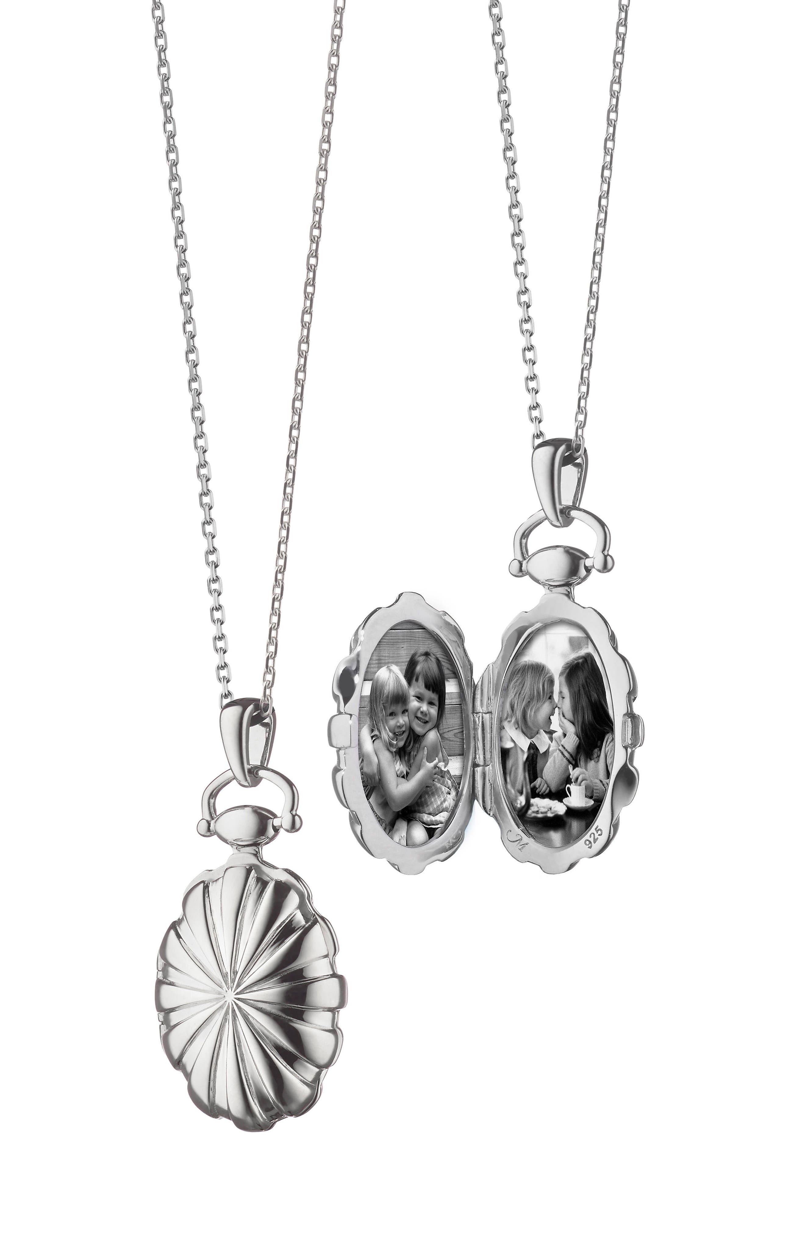 Petite Sunburst Locket Necklace,                             Main thumbnail 1, color,                             Sterling Silver
