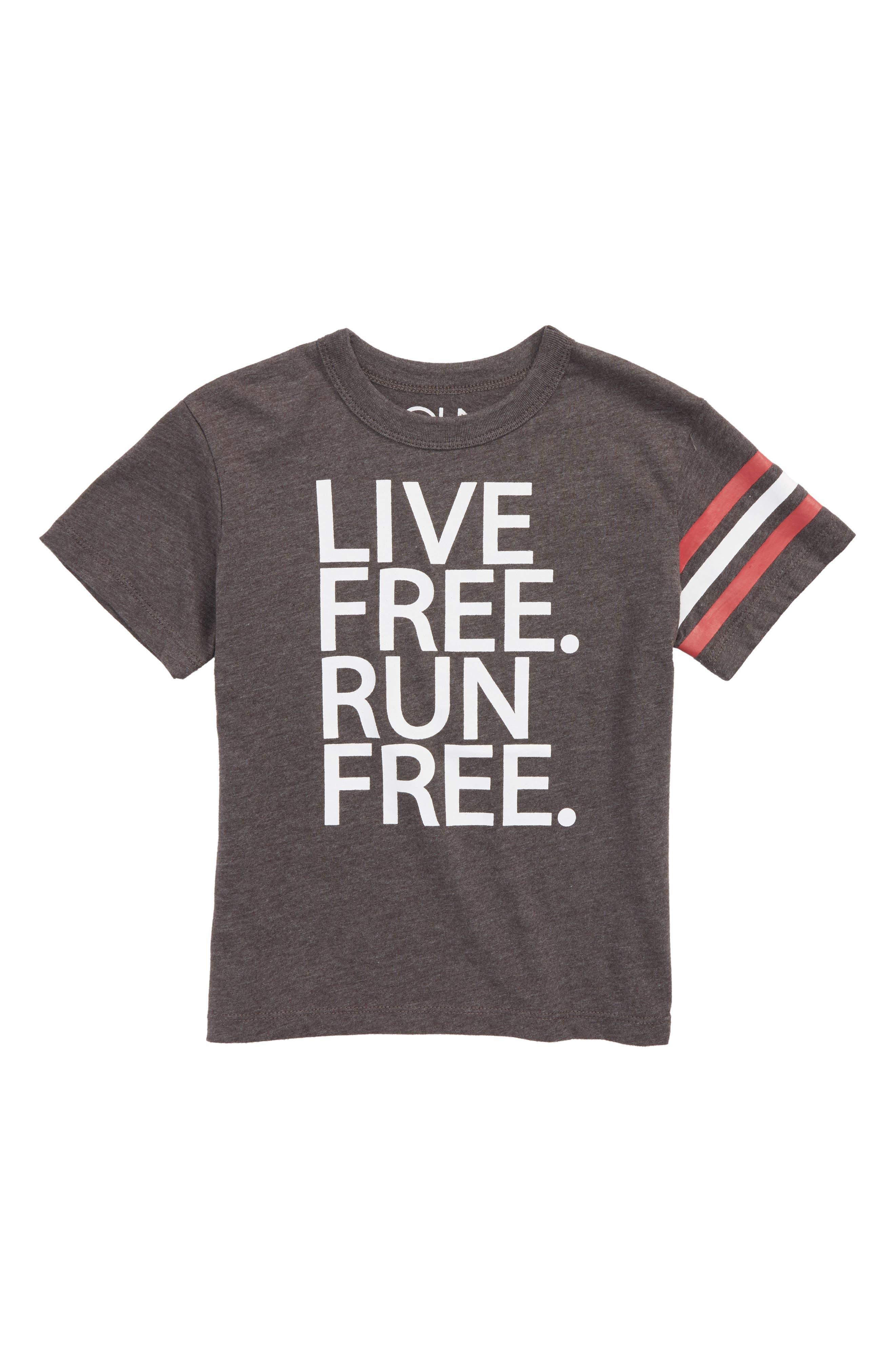 Live Free Run Free T-Shirt,                         Main,                         color, Asphalt