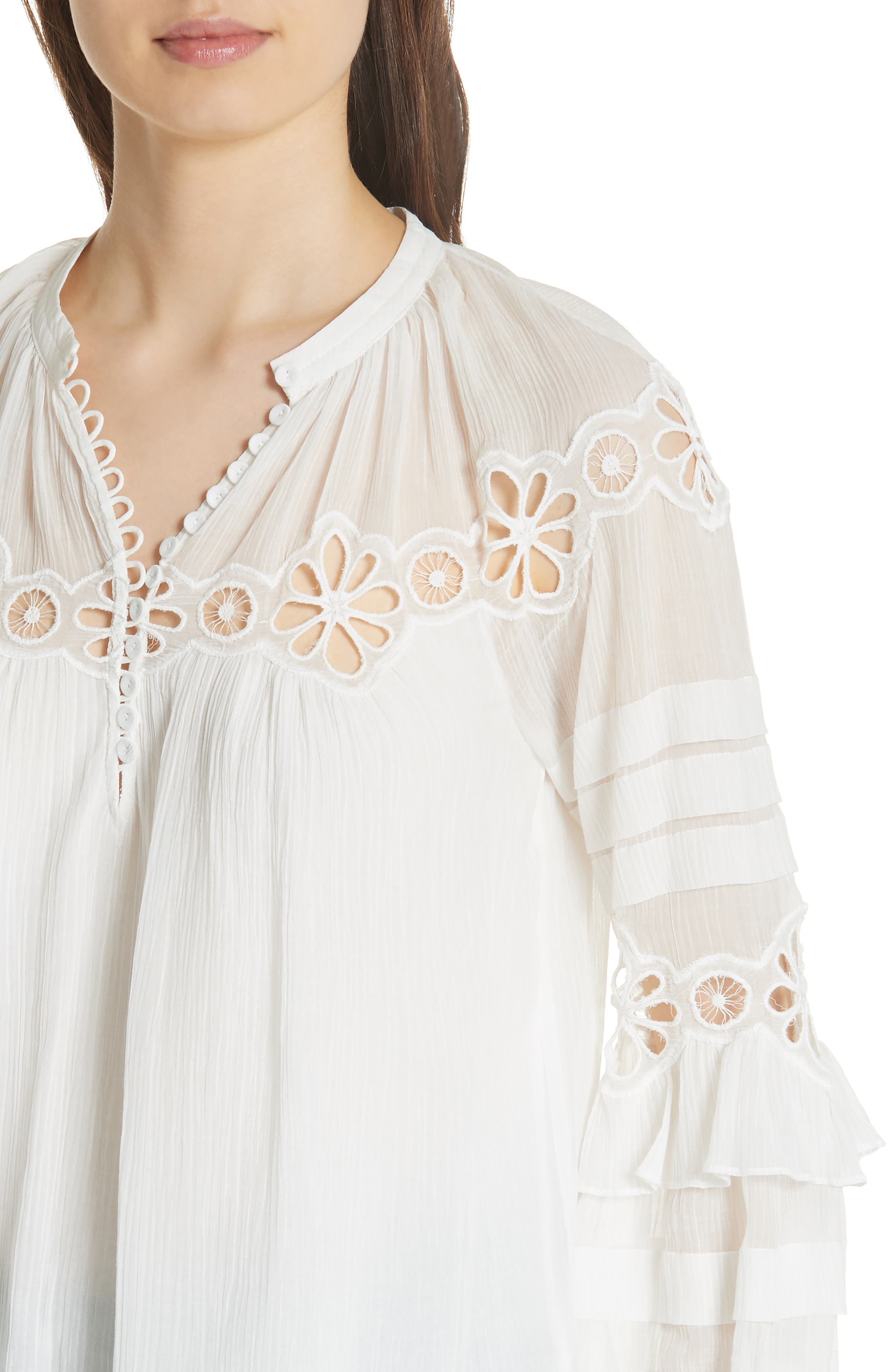 Alternate Image 4  - Rebecca Taylor Pinwheel Eyelet Top