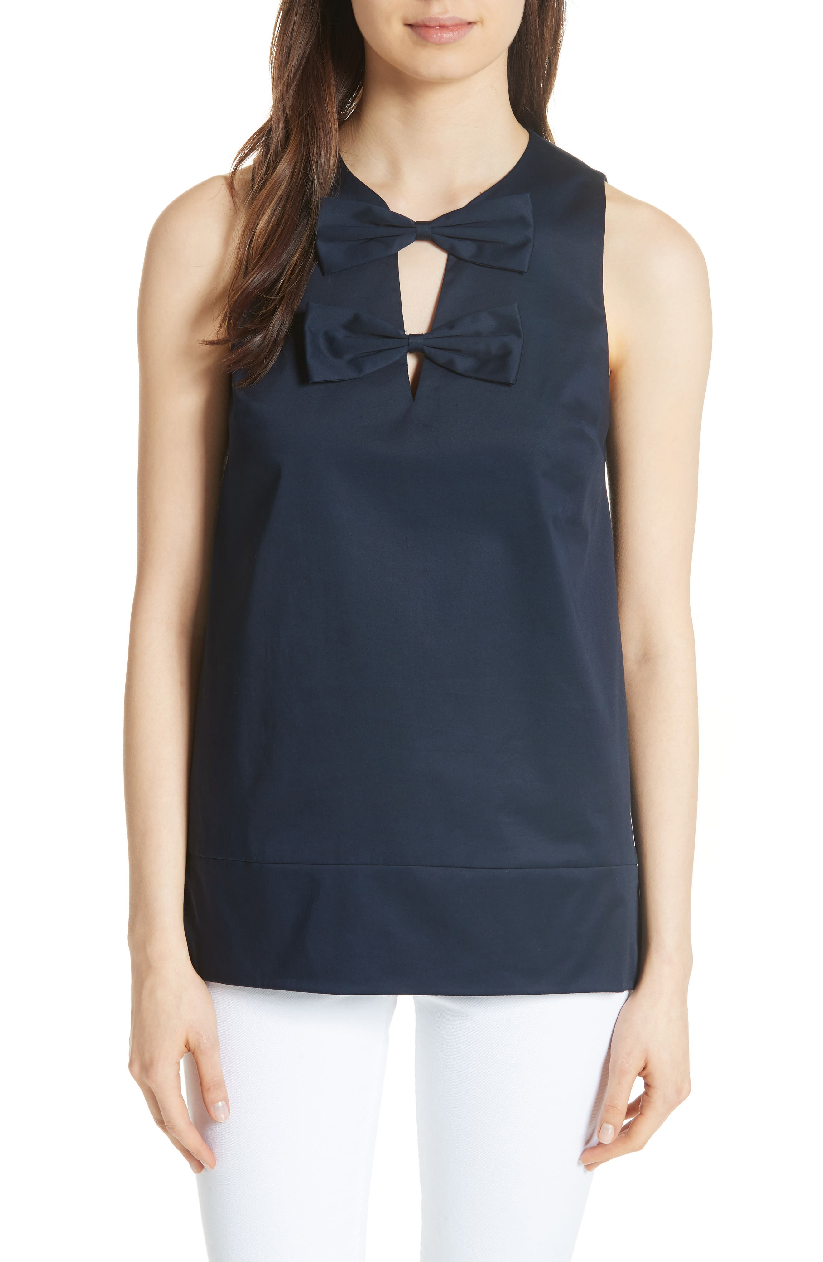 Double Bow A-Line Top,                         Main,                         color, Navy