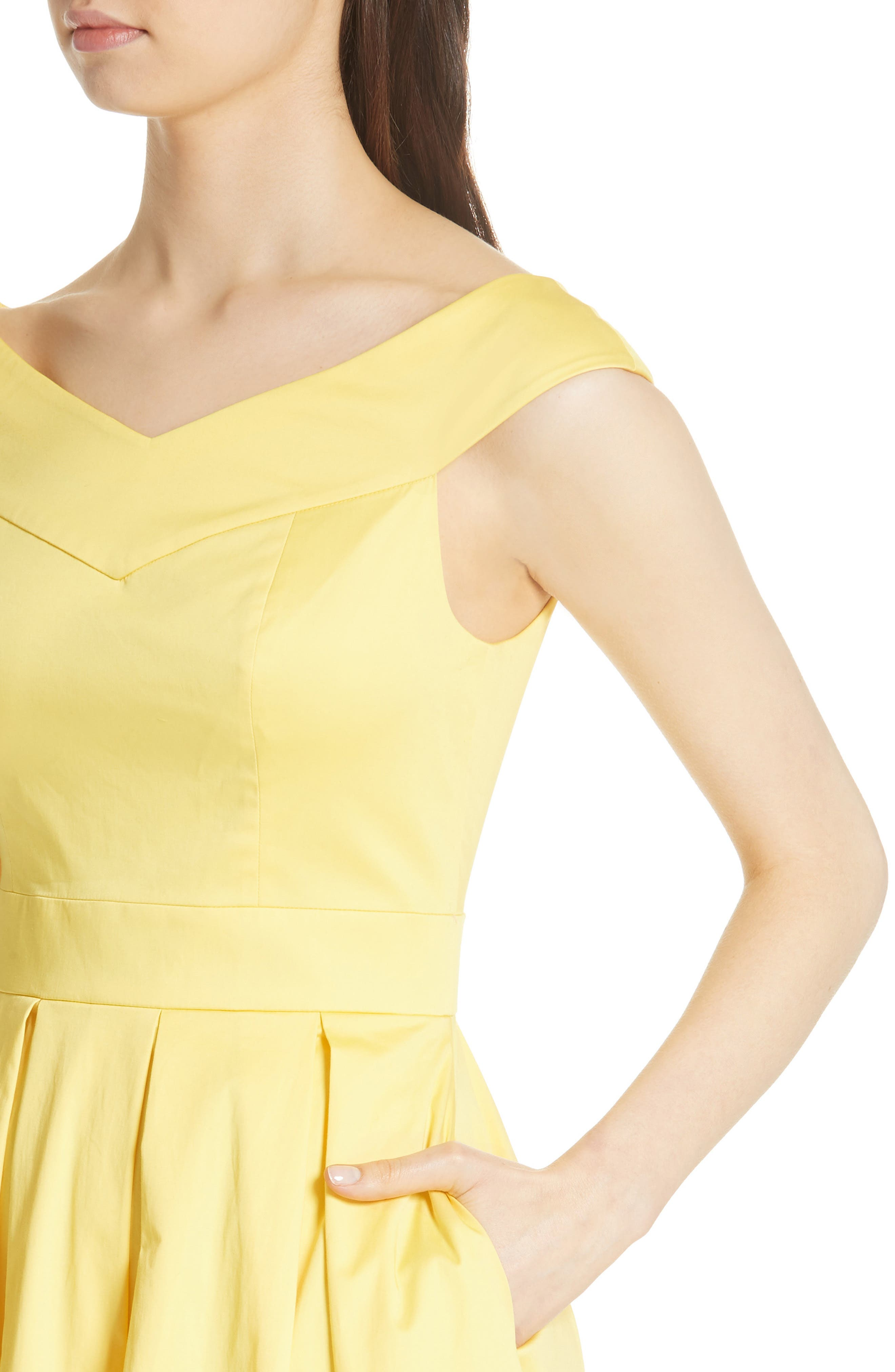 Jullee Off the Shoulder Stretch Cotton Dress,                             Alternate thumbnail 4, color,                             Yellow