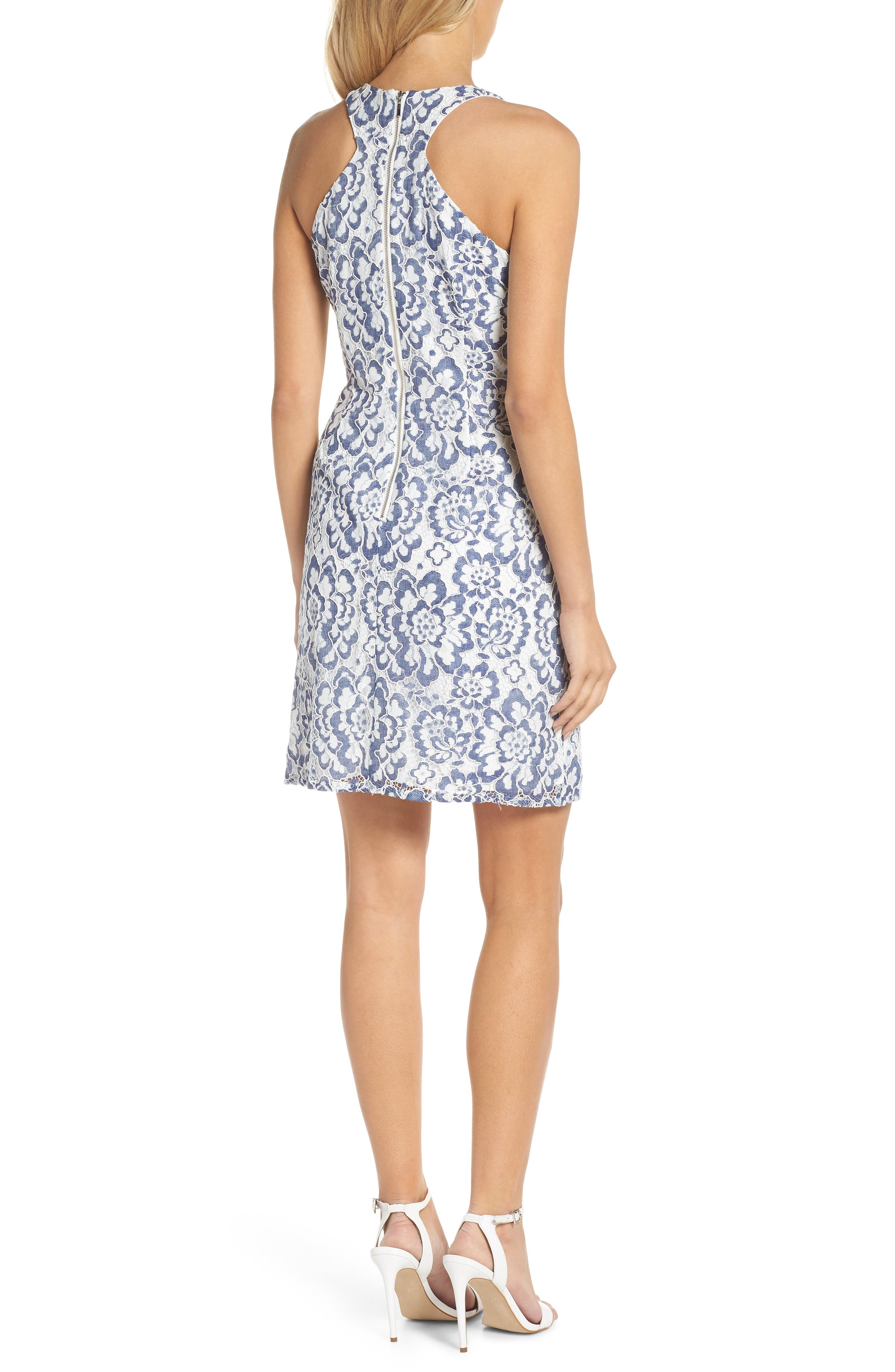 Elisa Two Tone Lace Sheath Dress,                             Alternate thumbnail 2, color,                             Blue/ White