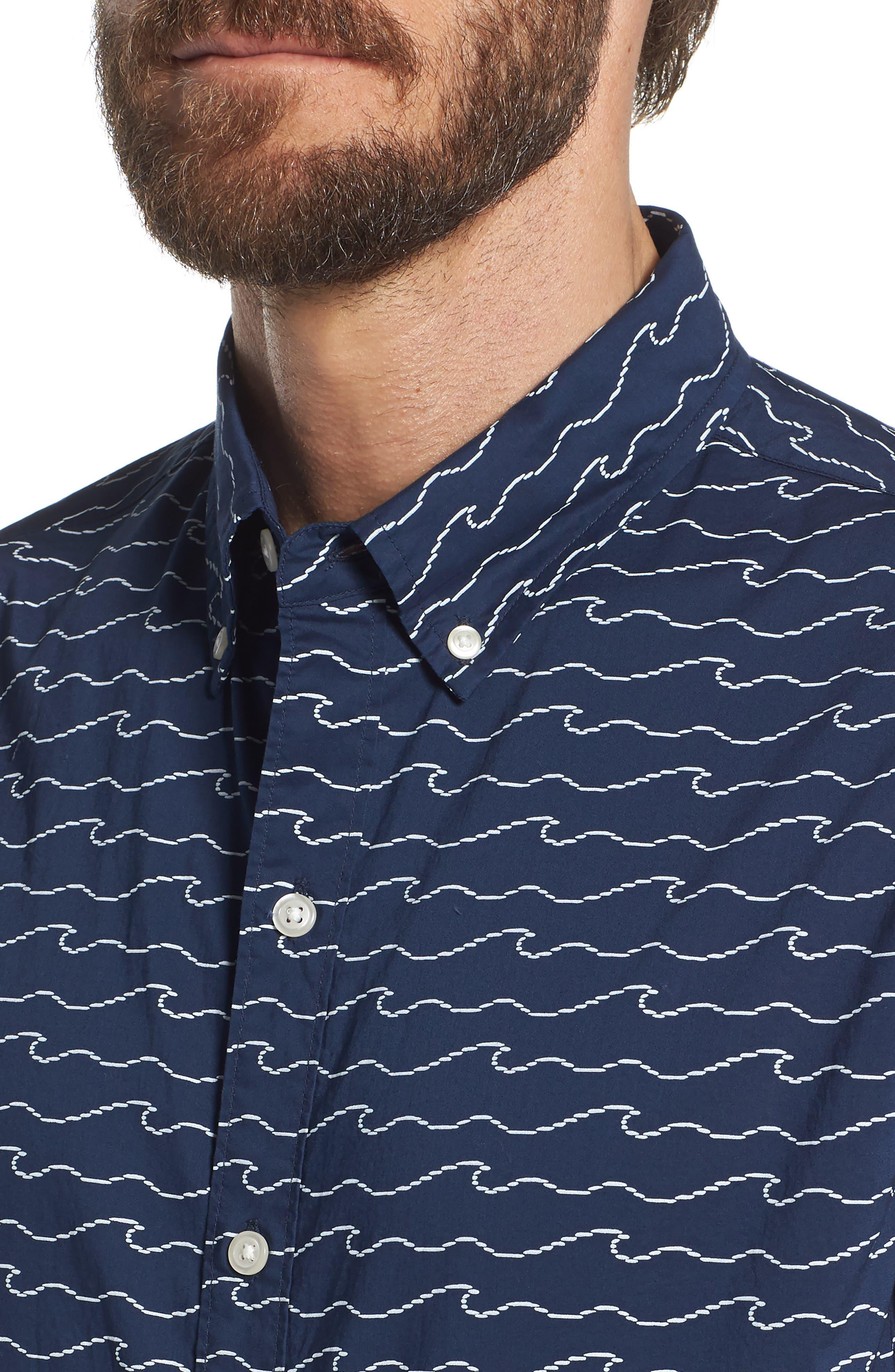 Slim Fit Print Sport Shirt,                             Alternate thumbnail 2, color,                             Digital Wave - Deep Pacific
