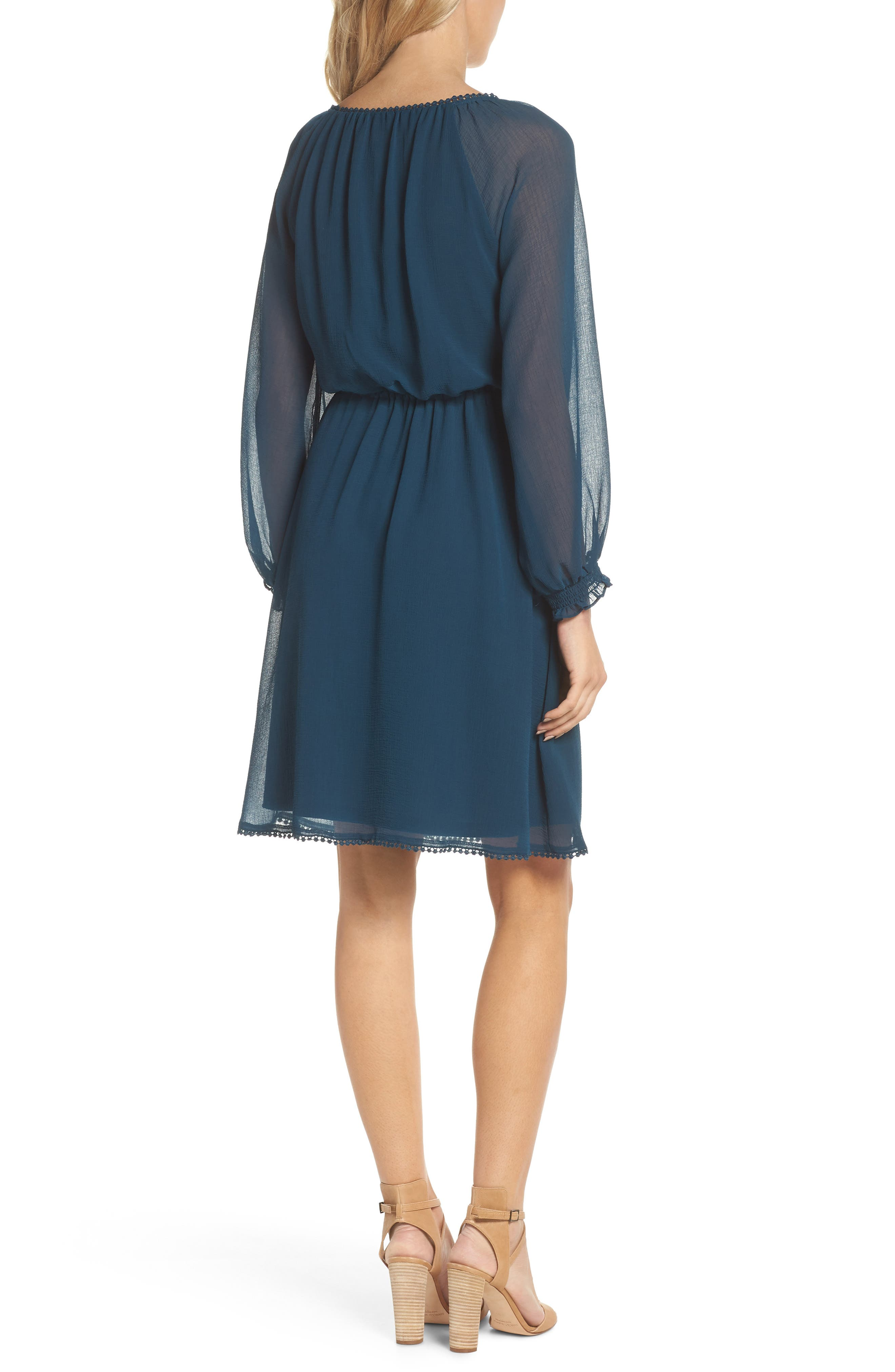 Bishop Sleeve Blouson Dress,                             Alternate thumbnail 2, color,                             Midnight Jungle