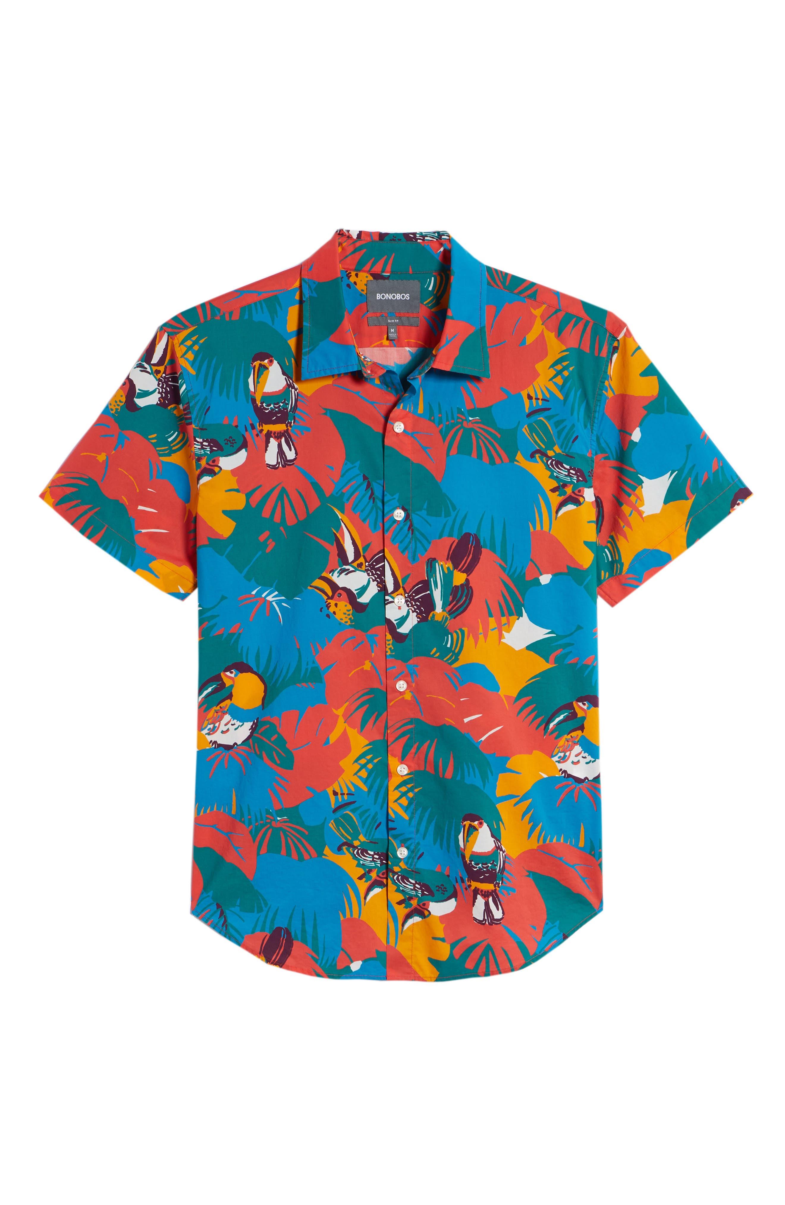 Slim Fit Print Sport Shirt,                             Alternate thumbnail 6, color,                             Toucan Tropics - Coral Fan