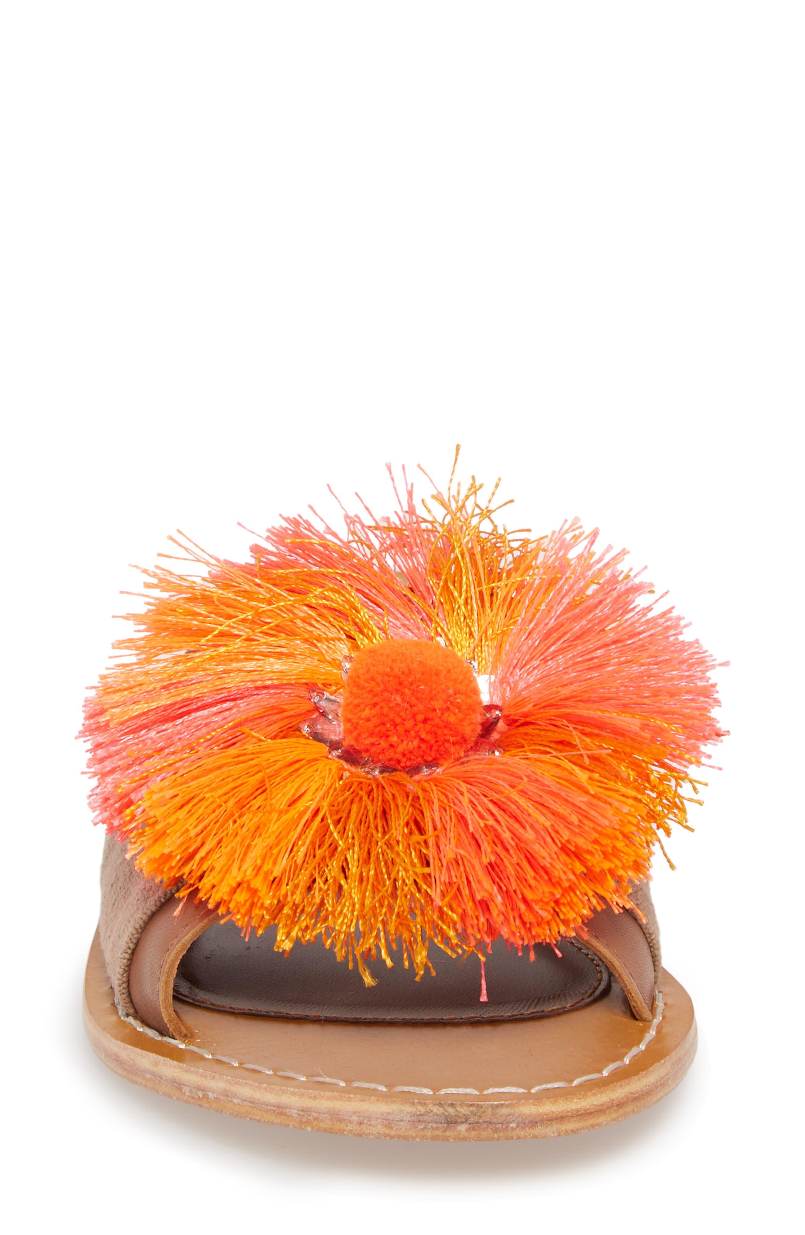 Orton Slide Sandal,                             Alternate thumbnail 4, color,                             Orange Multi Fabric
