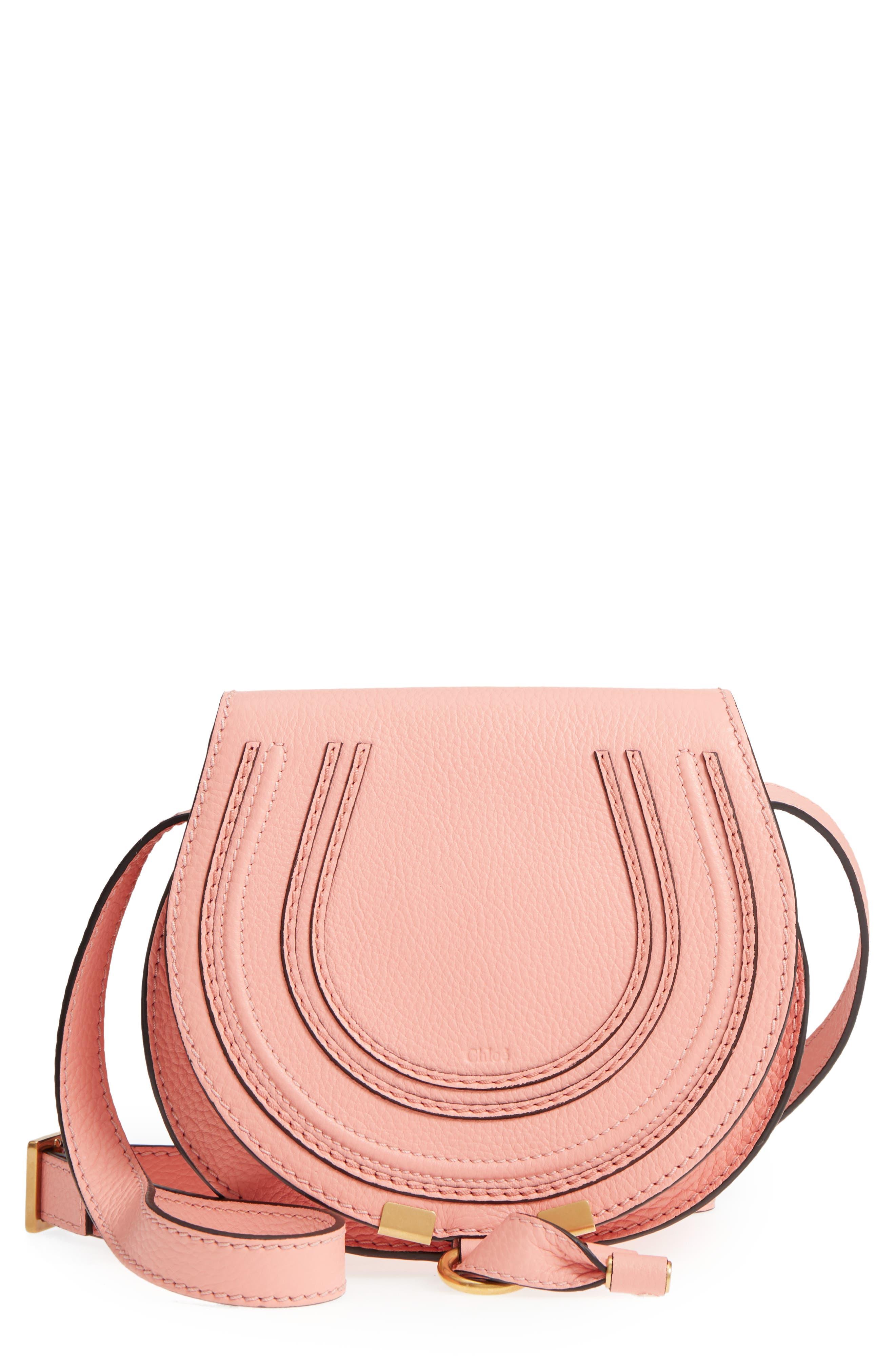 'Mini Marcie' Leather Crossbody Bag,                             Main thumbnail 1, color,                             Ideal Blush