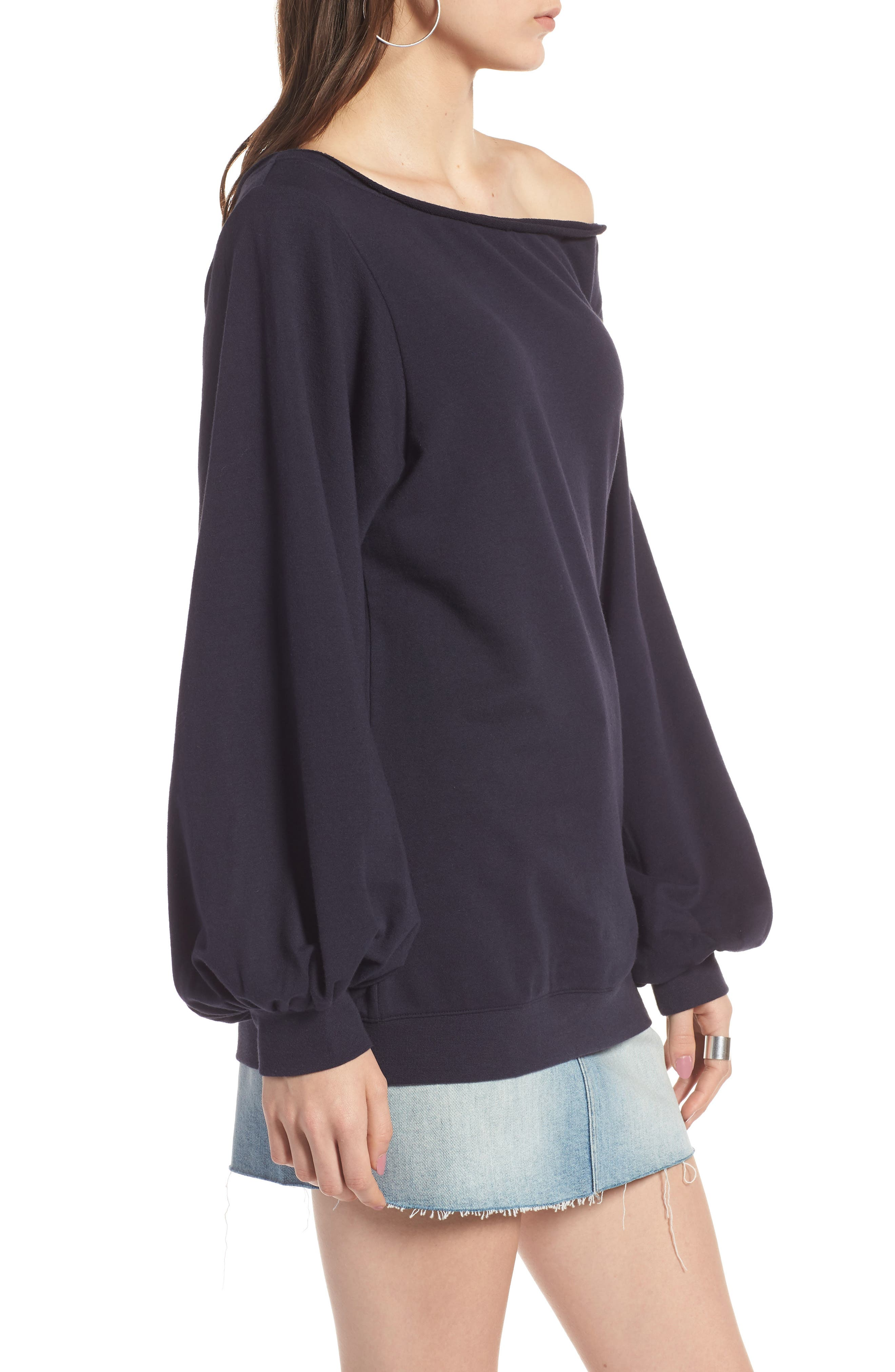Puff Sleeve Off the Shoulder Top,                             Alternate thumbnail 3, color,                             Navy Night