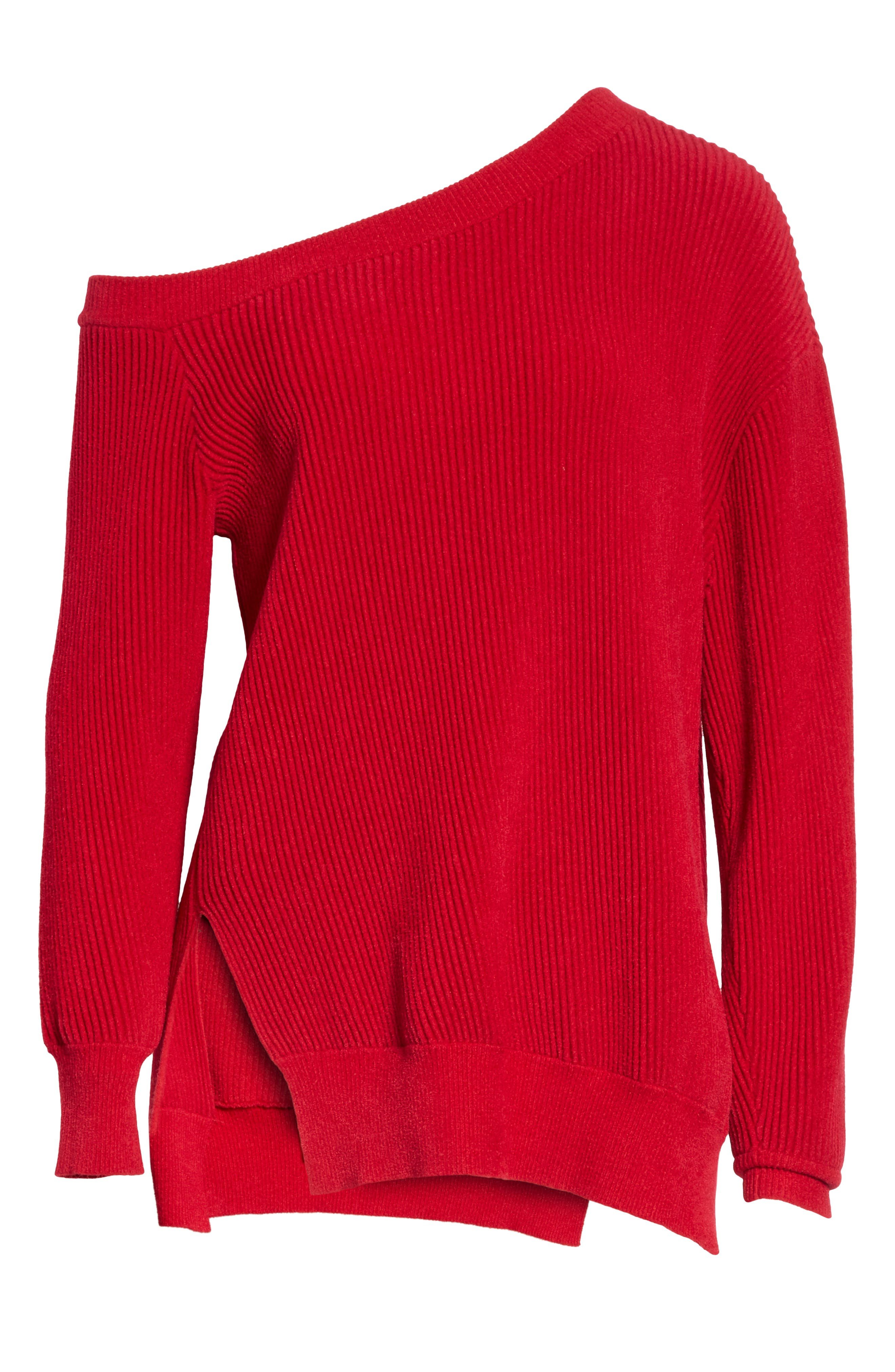 One-Shoulder Sweater,                             Alternate thumbnail 6, color,                             Cardinal-Red