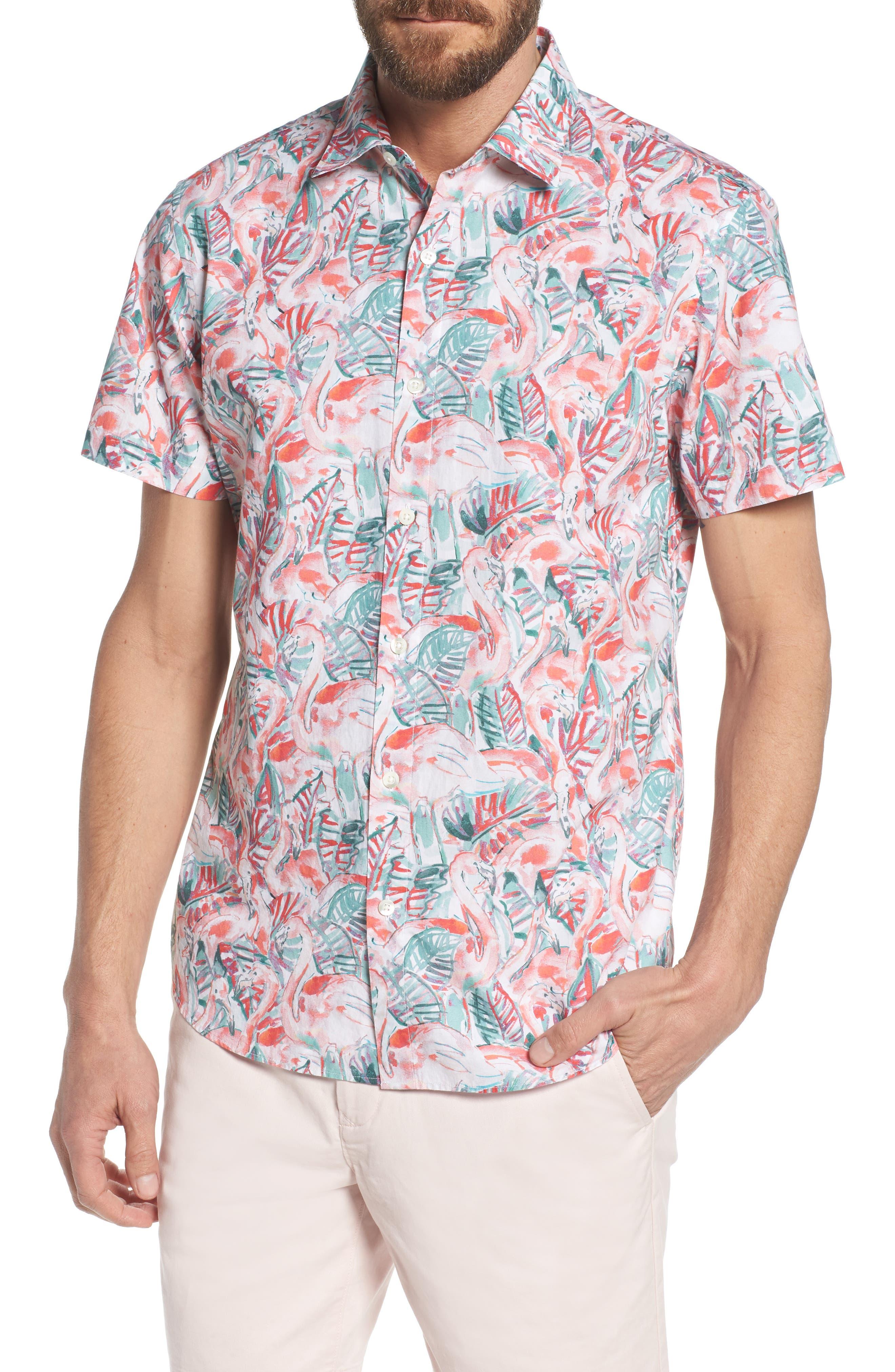 Slim Fit Print Premium Sport Shirt,                             Main thumbnail 1, color,                             Painterly Flamingo - Coral Fan