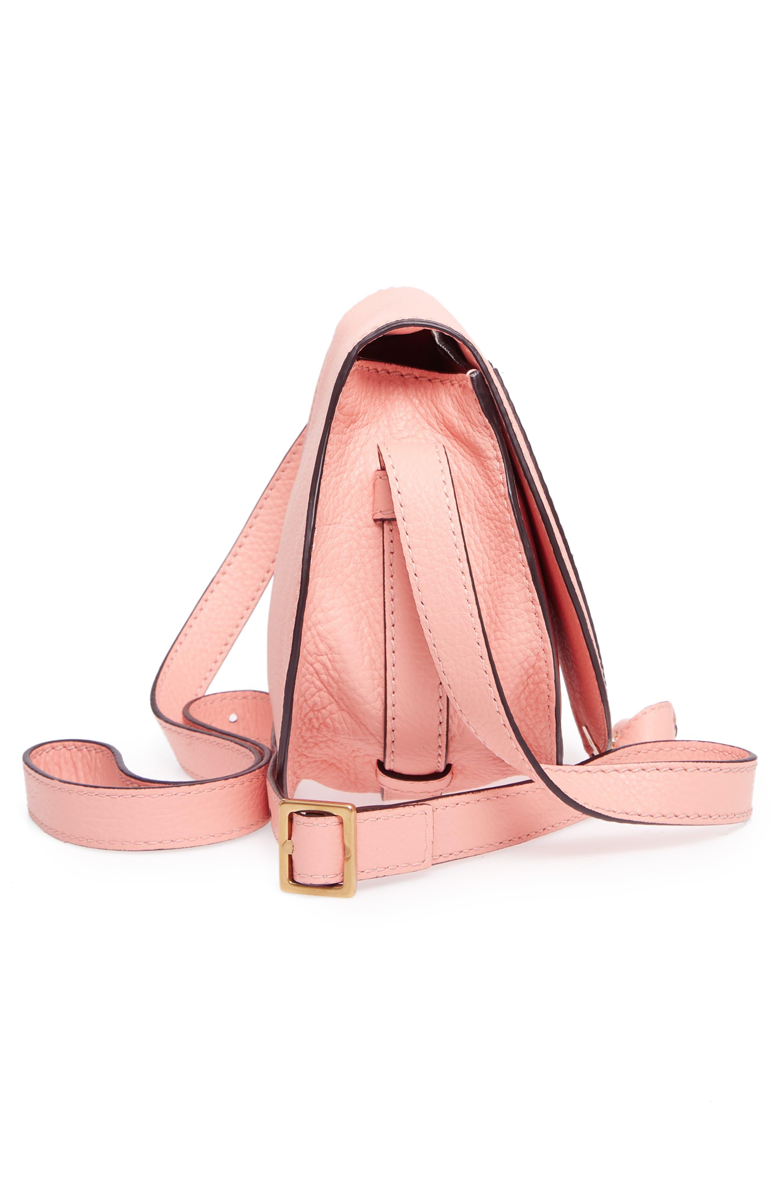'Mini Marcie' Leather Crossbody Bag,                             Alternate thumbnail 5, color,                             Ideal Blush