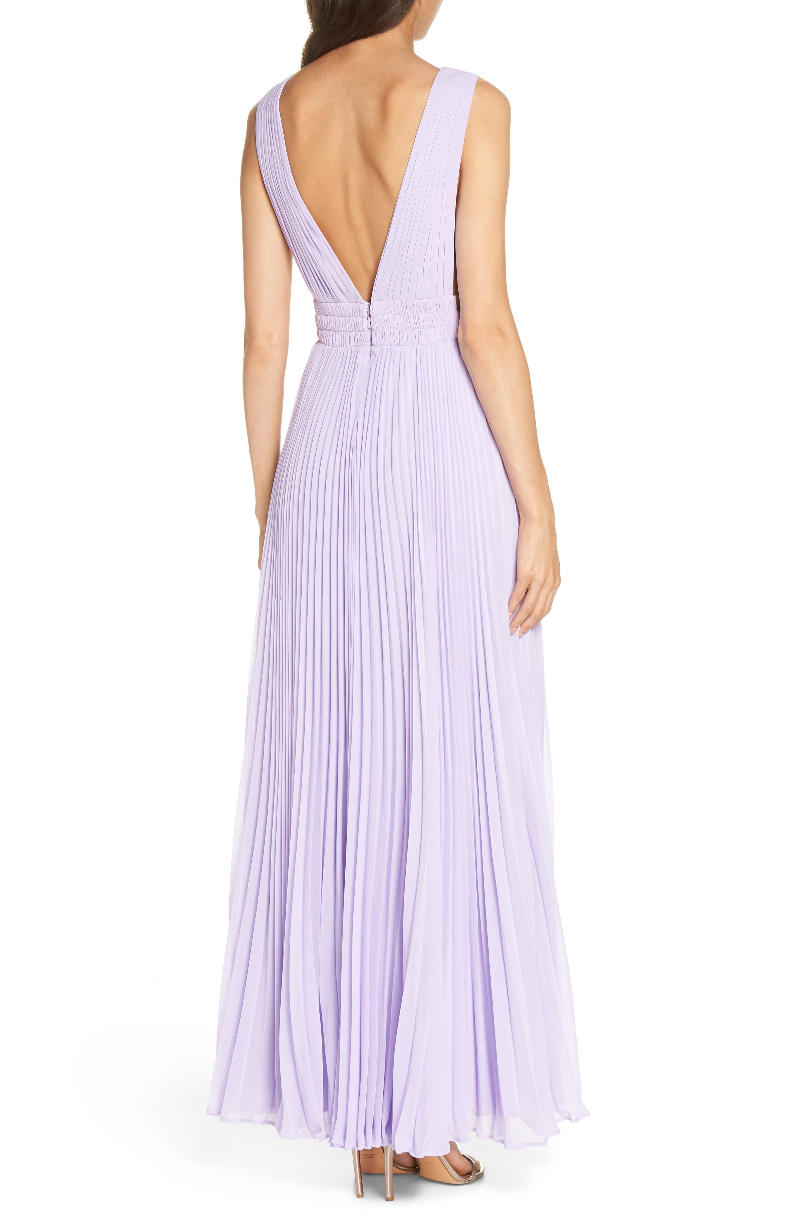 Fame & Partners The Peyton Pleated Gown,                             Alternate thumbnail 2, color,                             Lilac