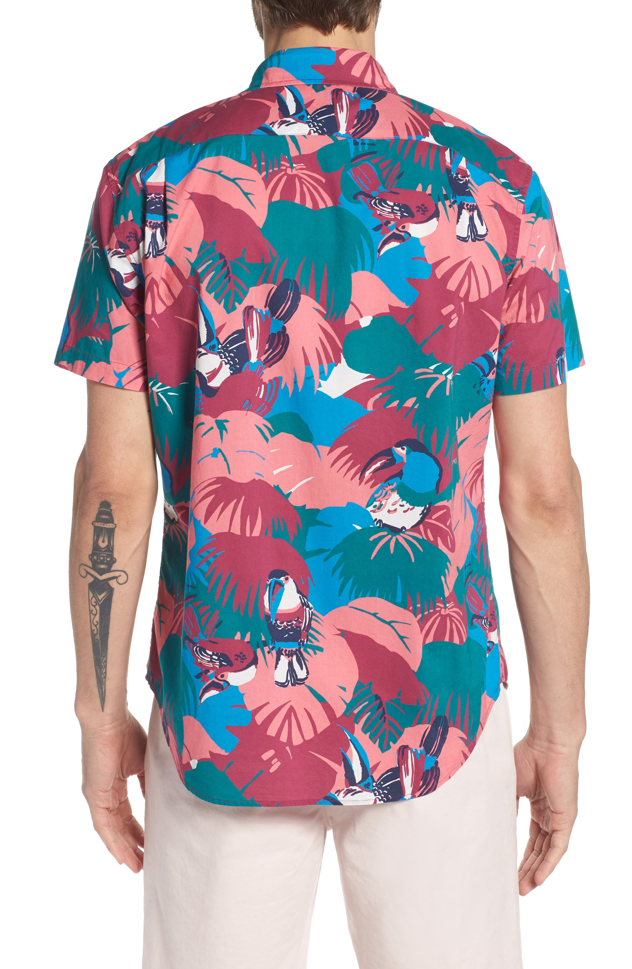 Riviera Slim Fit Toucan Print Sport Shirt,                             Alternate thumbnail 4, color,                             Toucan Tropics - Peony Coral