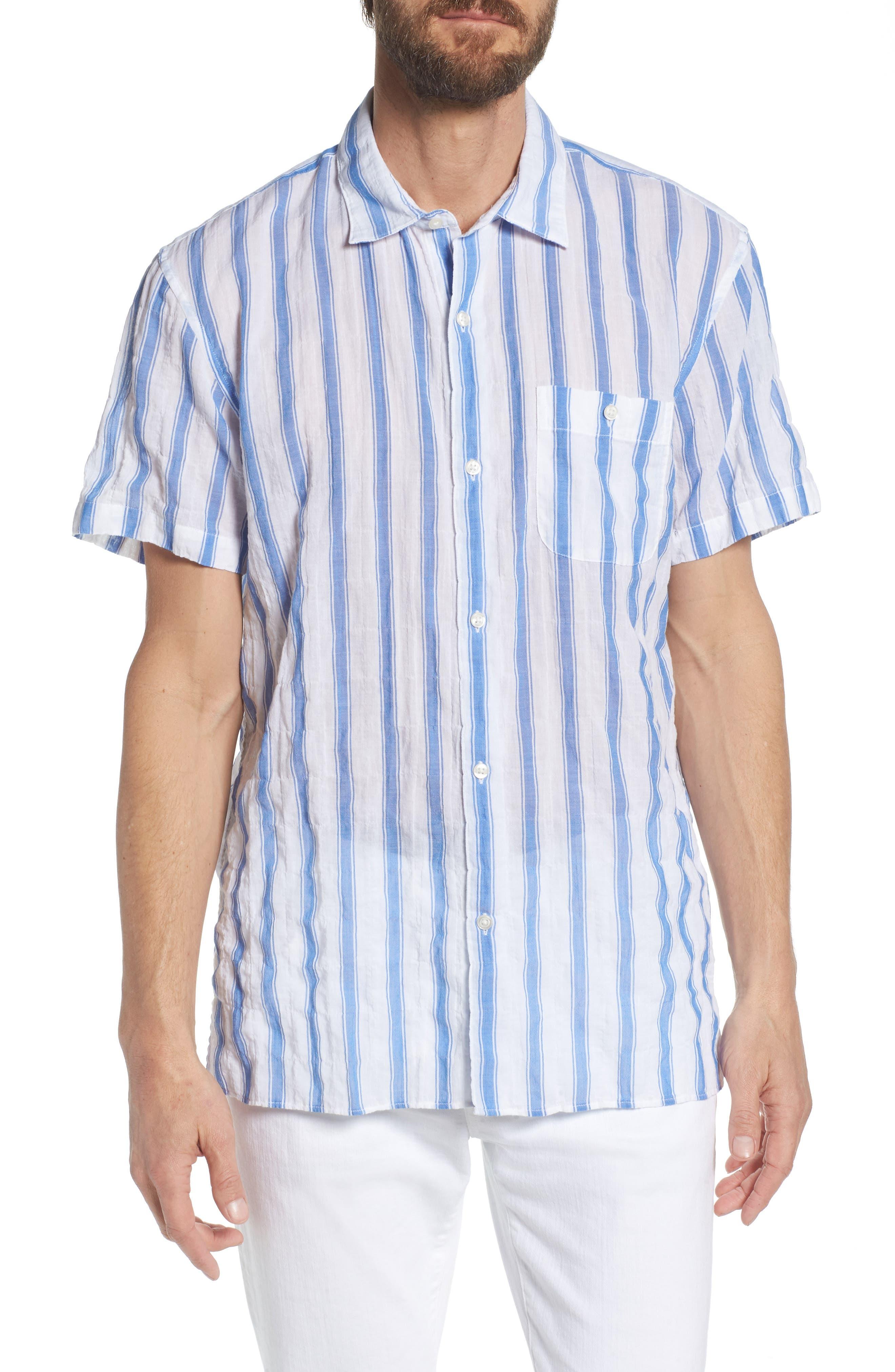 Beach Slim Fit Stripe Sport Shirt,                             Main thumbnail 1, color,                             Crinkle Polpis - Coast Azure