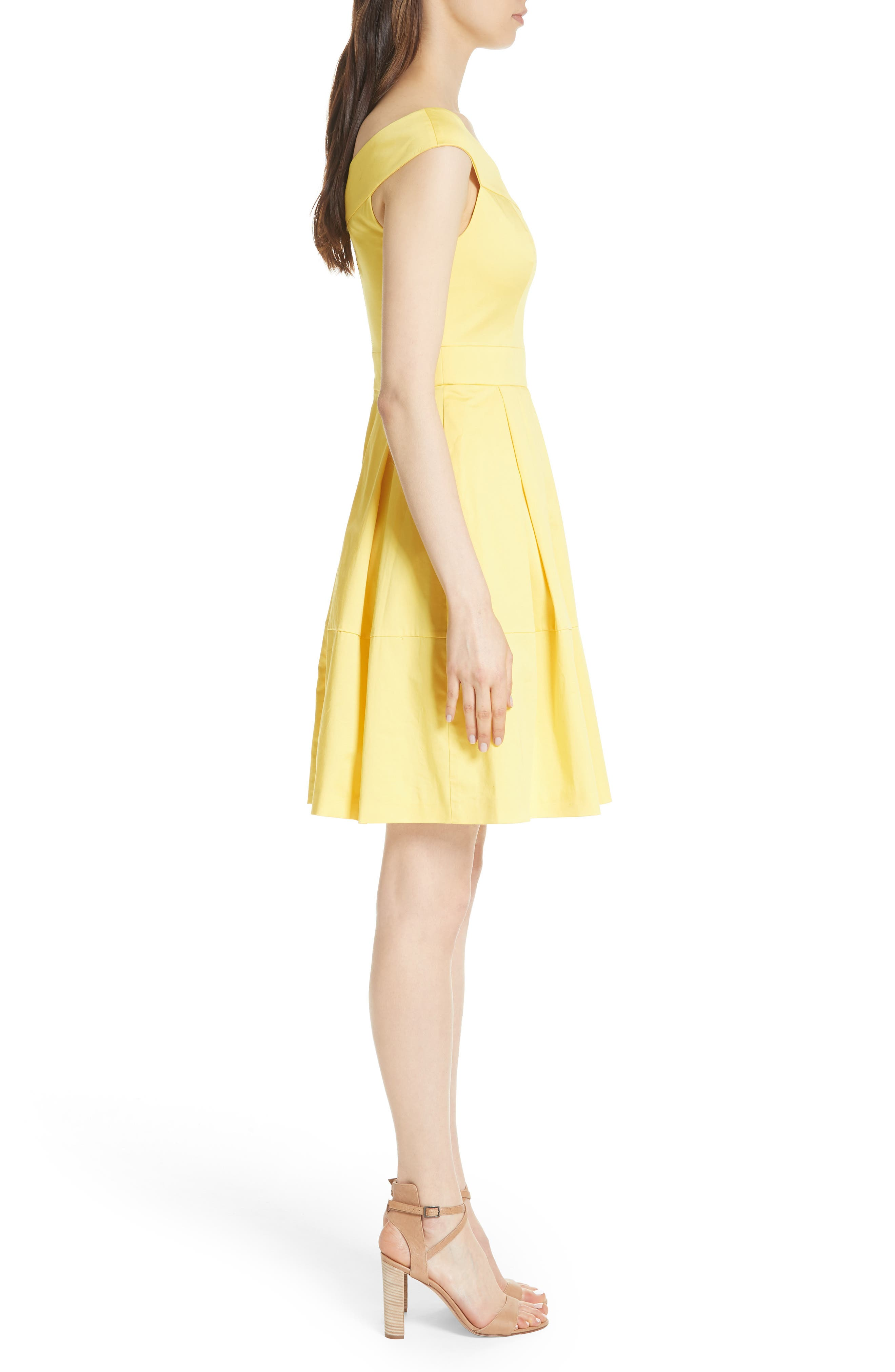 Jullee Off the Shoulder Stretch Cotton Dress,                             Alternate thumbnail 3, color,                             Yellow