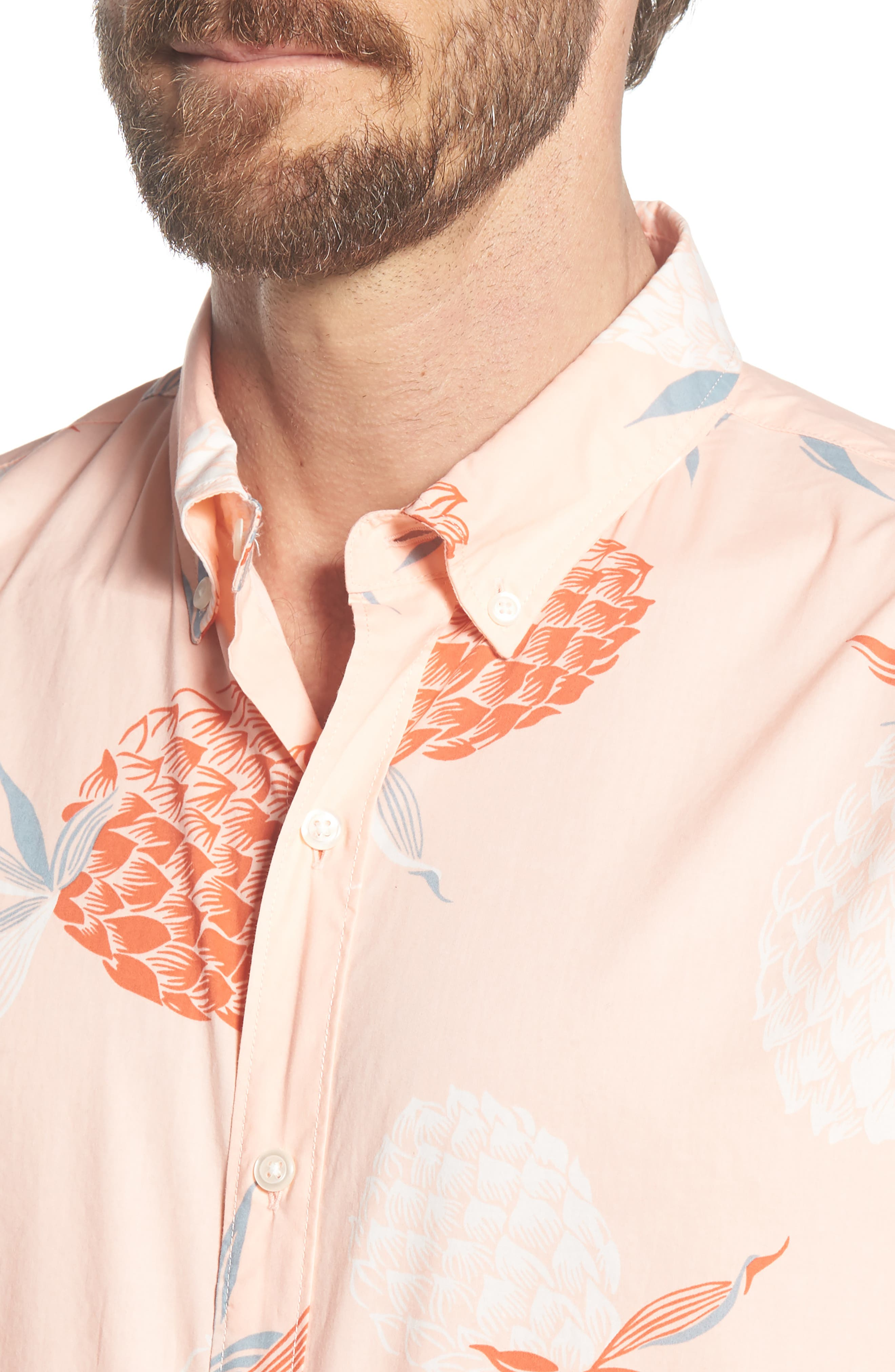 Summerweight Slim Fit Print Sport Shirt,                             Alternate thumbnail 2, color,                             Pineapple Party - Peach Melba