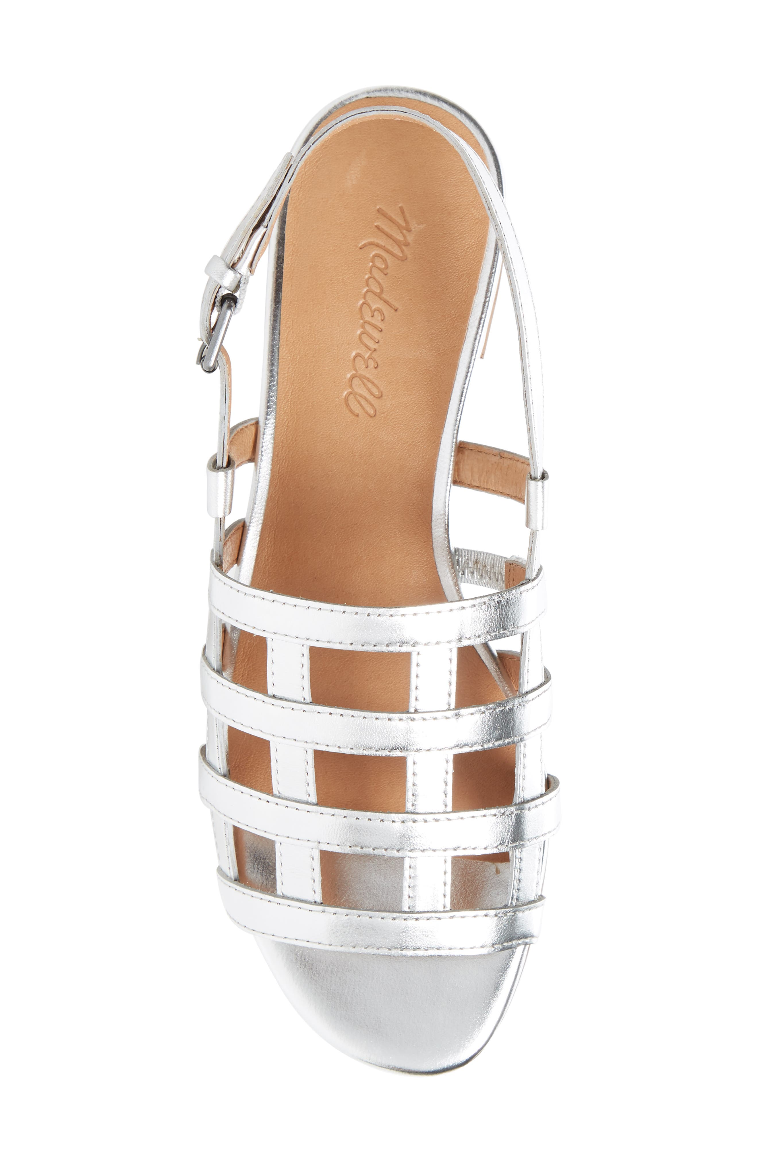 Rowan Cage Sandal,                             Alternate thumbnail 5, color,                             Silver Metallic Leather