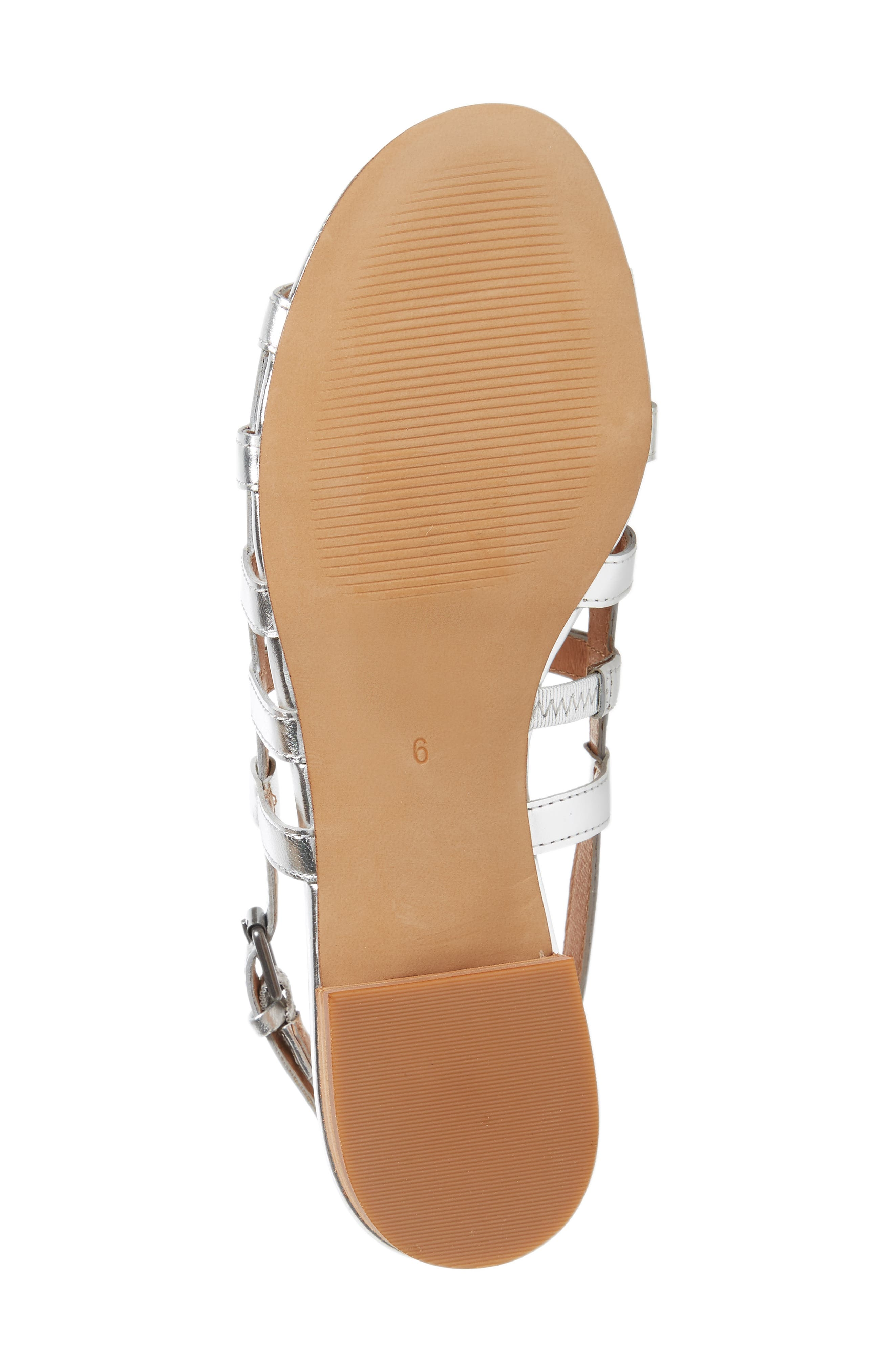 Rowan Cage Sandal,                             Alternate thumbnail 6, color,                             Silver Metallic Leather