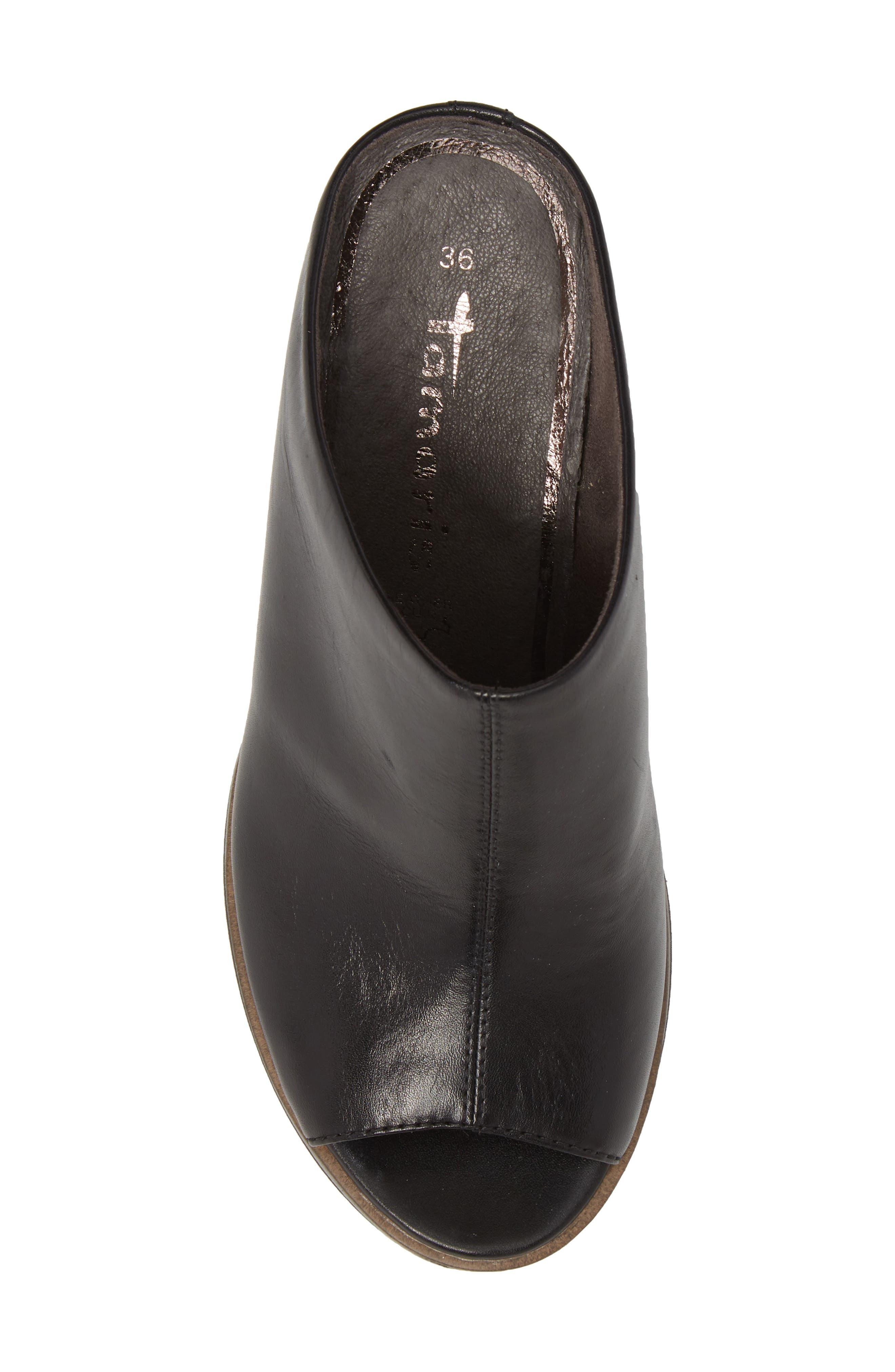 Alis Wedge Sandal,                             Alternate thumbnail 5, color,                             Black/ Black Leather