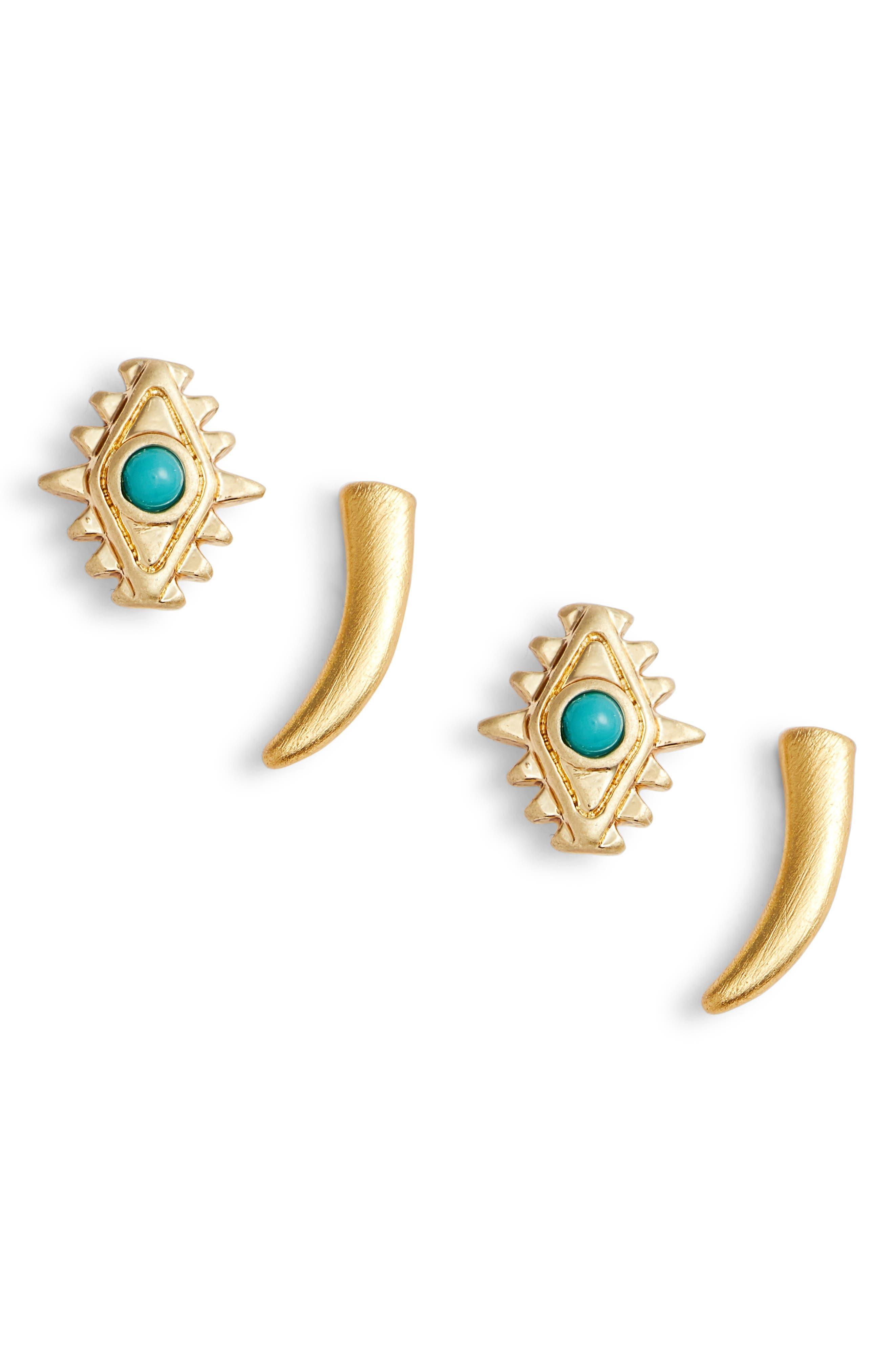 Set of 2 Stud Earrings,                             Main thumbnail 1, color,                             Gold