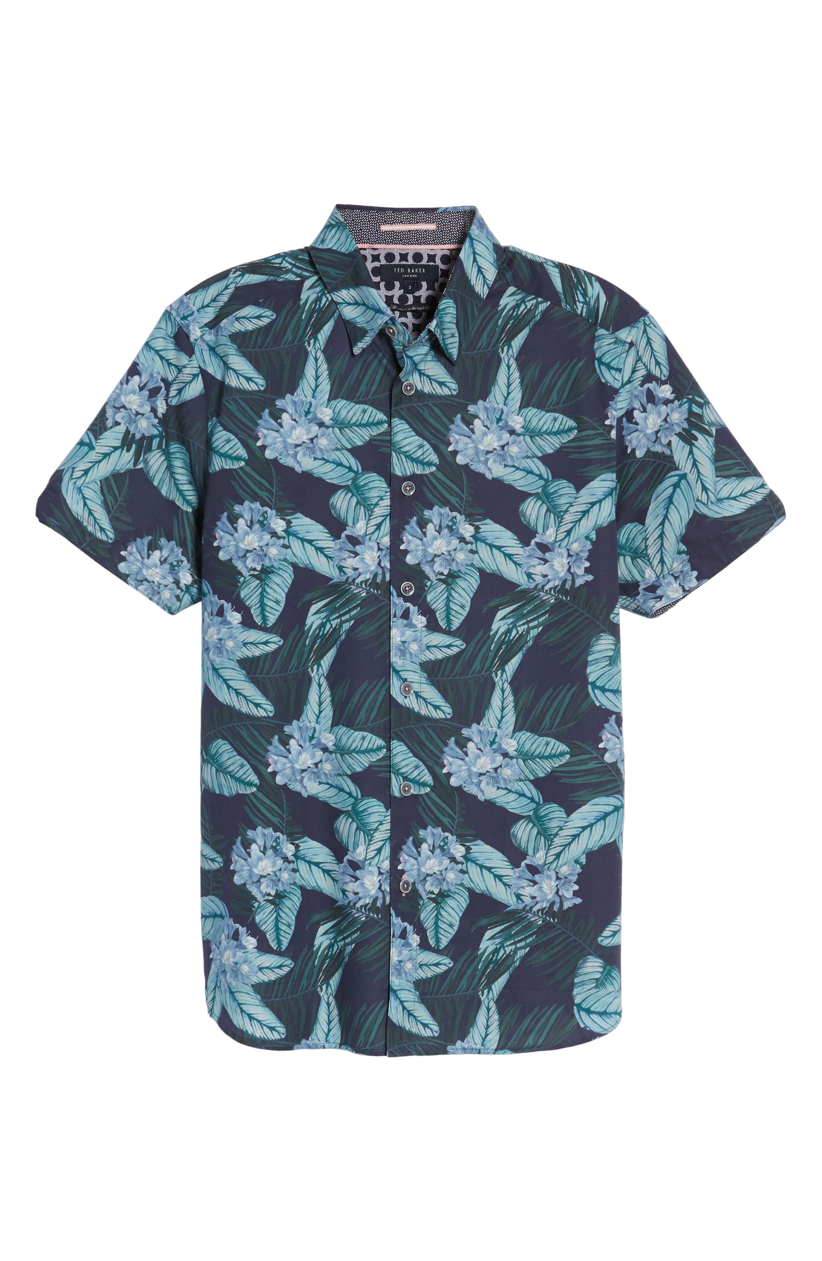 Folinor Slim Fit Floral Cotton Shirt,                             Alternate thumbnail 6, color,                             Navy