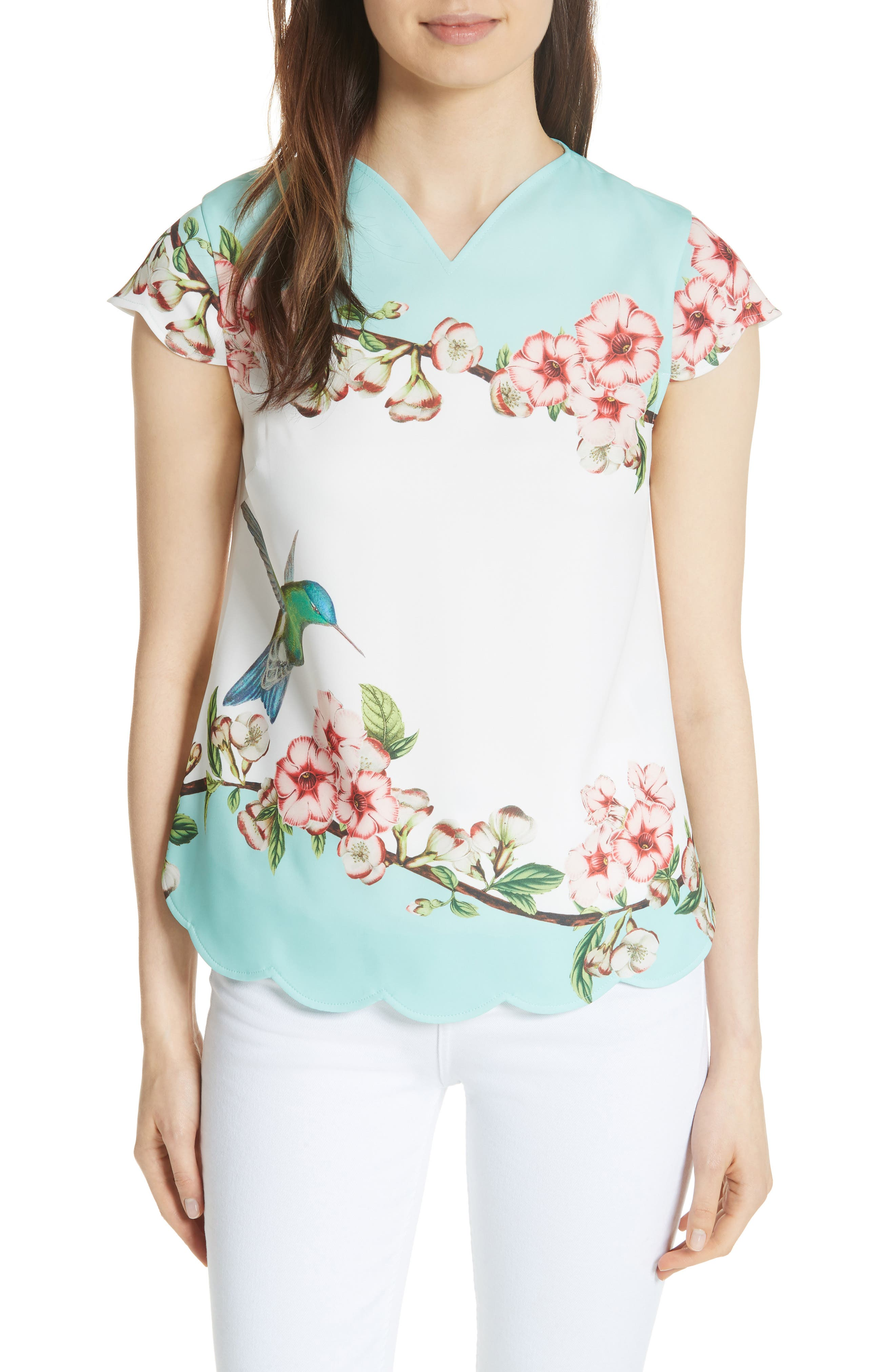 Elmy Nectar Scallop Edge Top,                         Main,                         color, Pale Green