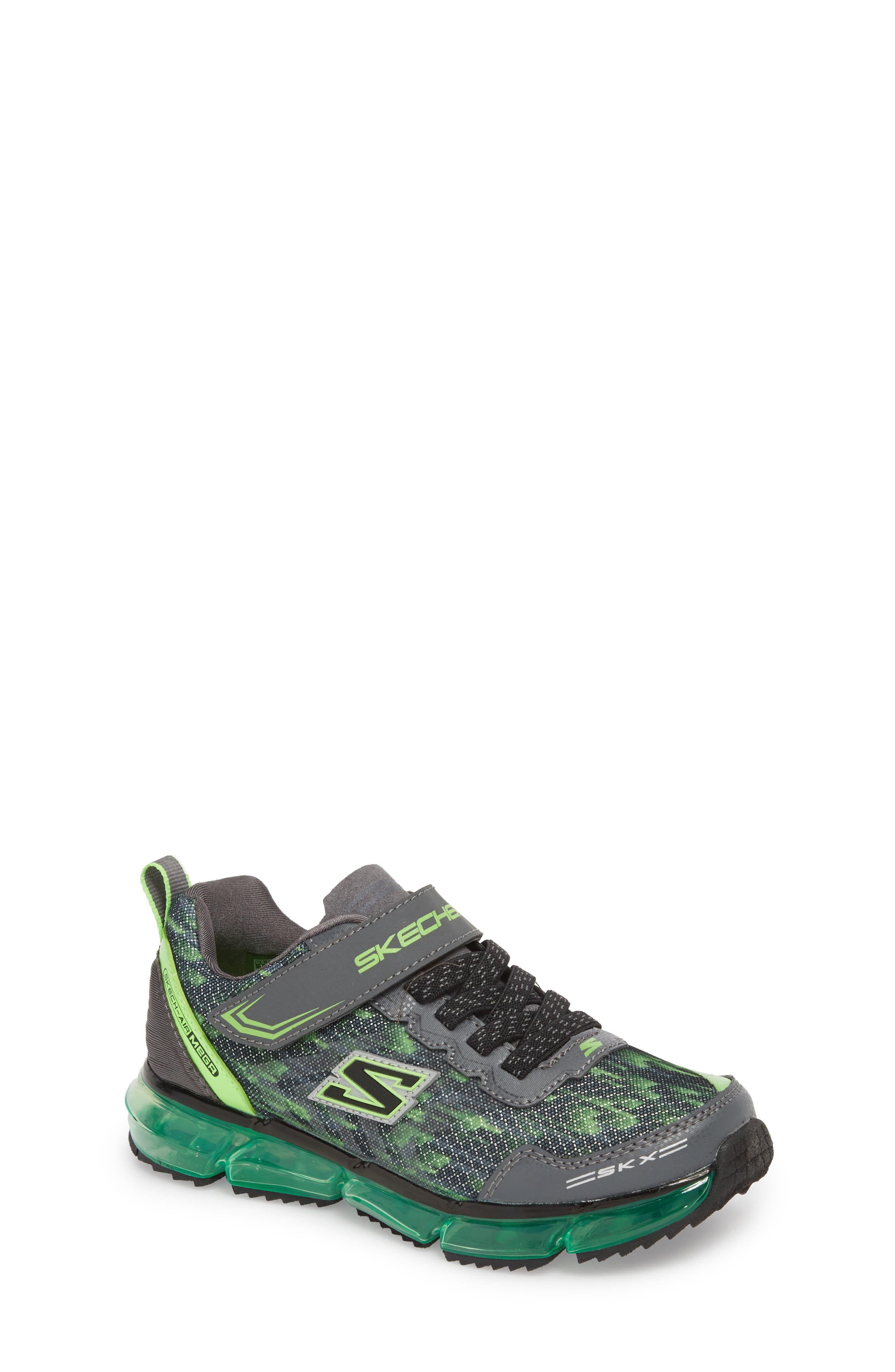Skech-Air Mega Sneaker,                             Main thumbnail 1, color,                             Black/ Charcoal/ Lime