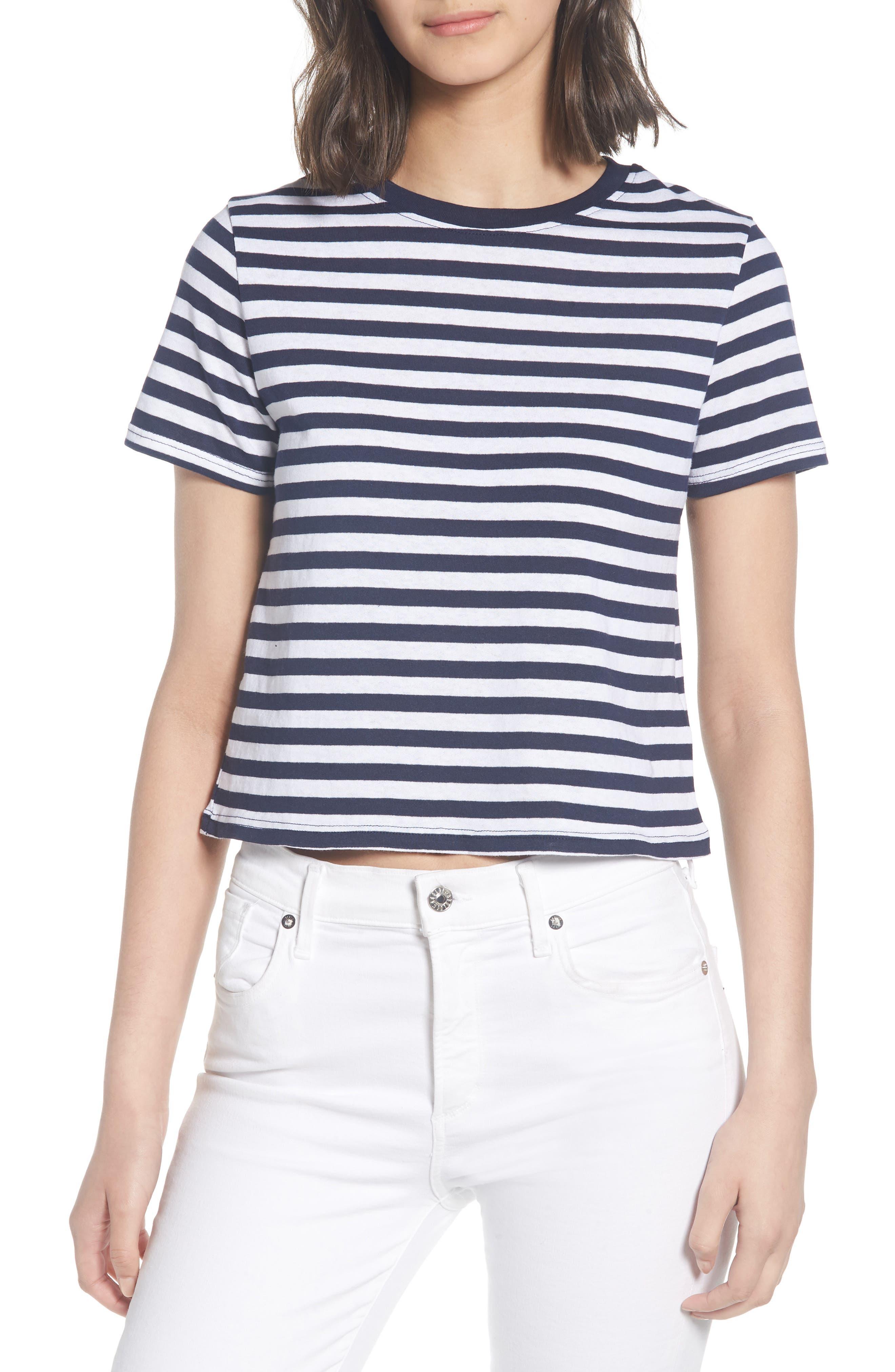 Crop Stripe Tee,                         Main,                         color, Navy Blue Multi