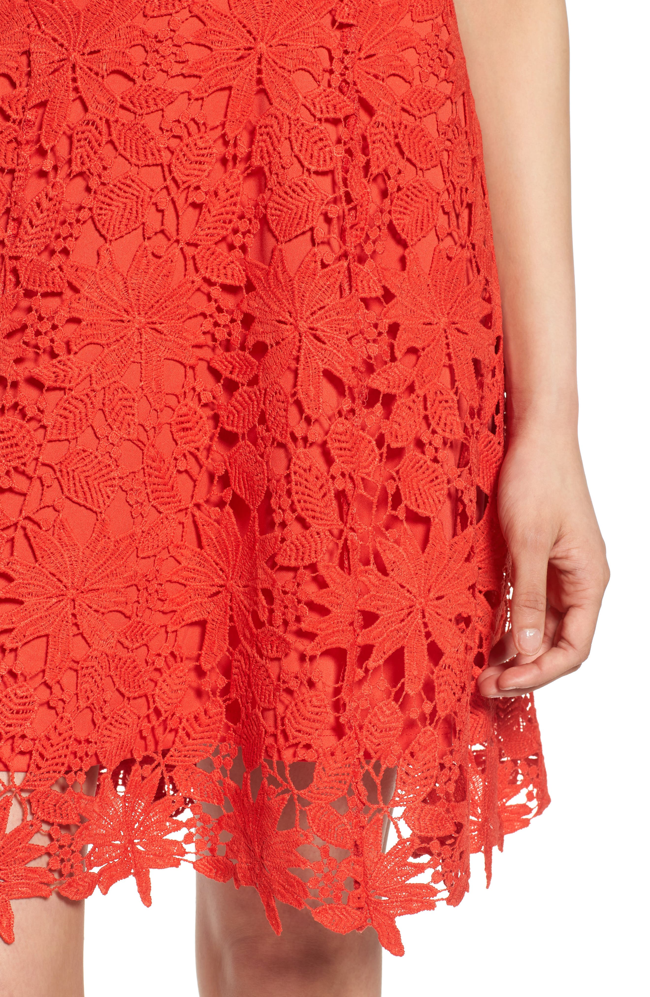 Lace Fit & Flare Dress,                             Alternate thumbnail 4, color,                             Candy Red
