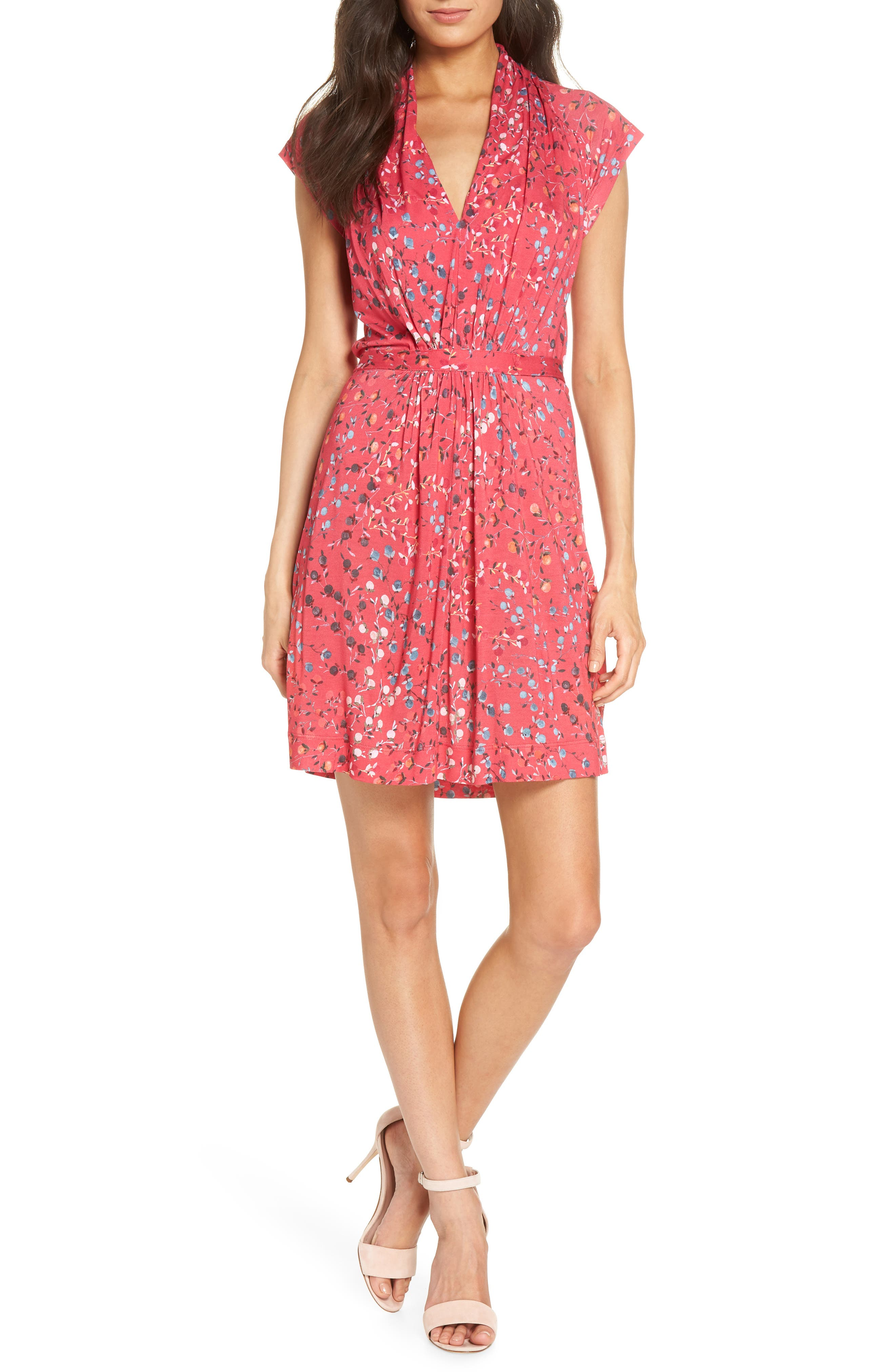 Frances Jersey Dress,                         Main,                         color, Watermelon