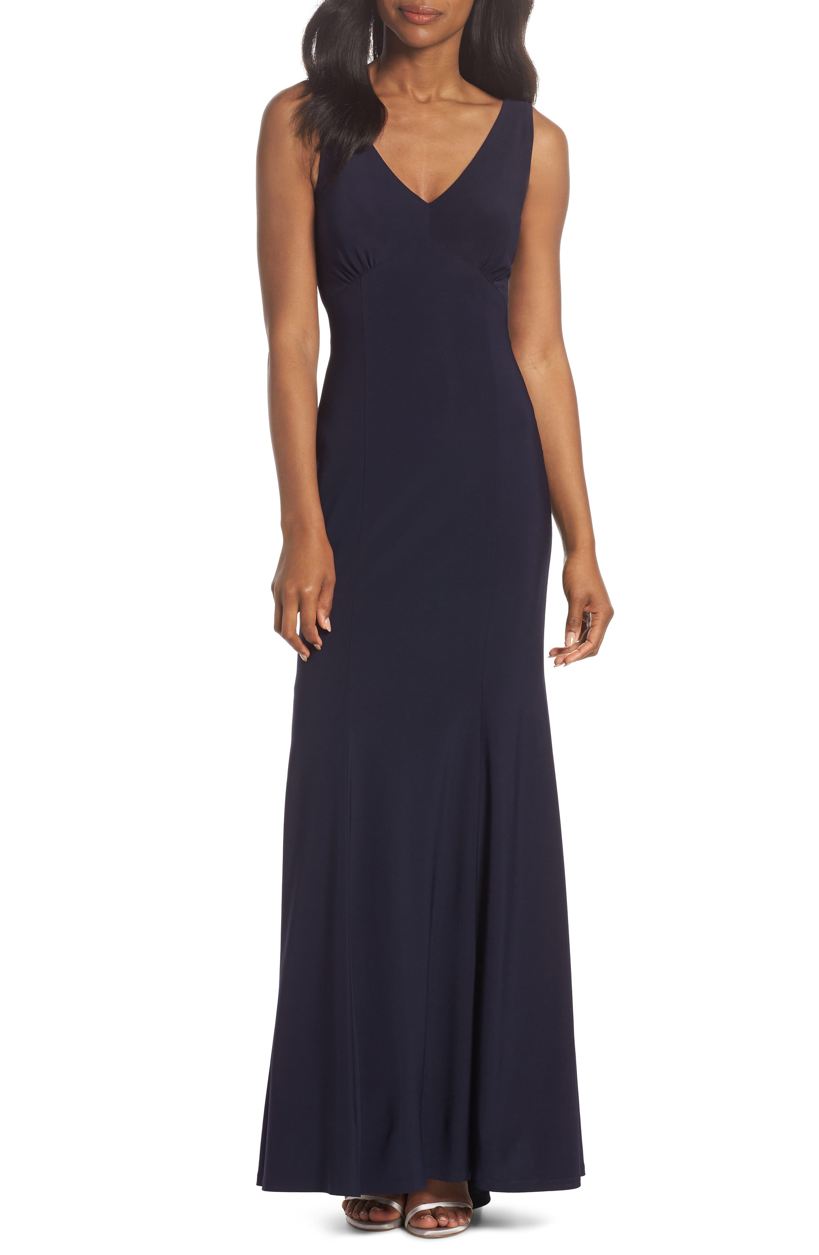 Open Back Gown,                             Main thumbnail 1, color,                             Navy