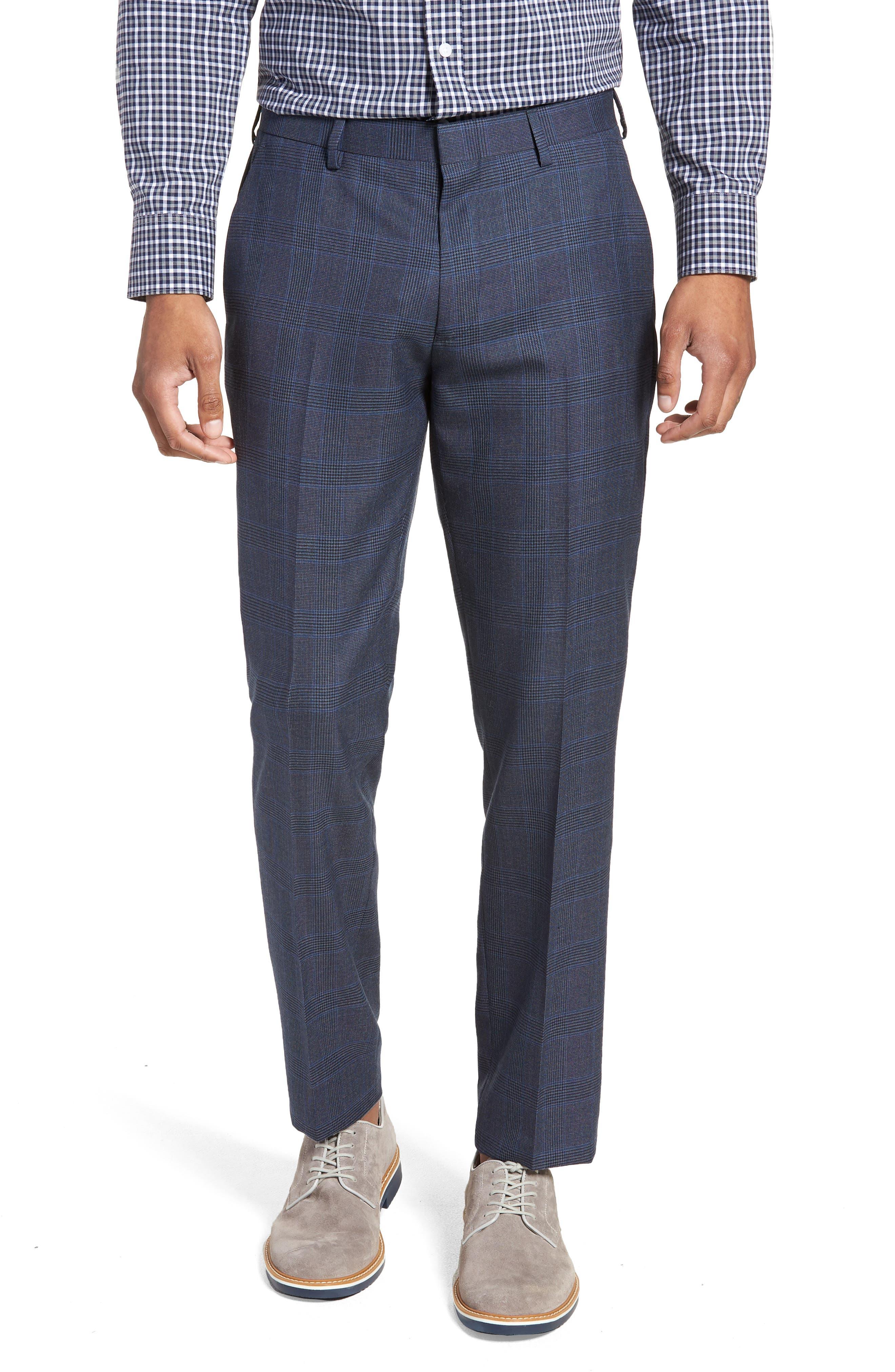Ludlow Trim Fit Glen Plaid Wool Pants,                         Main,                         color, Baltic Blue