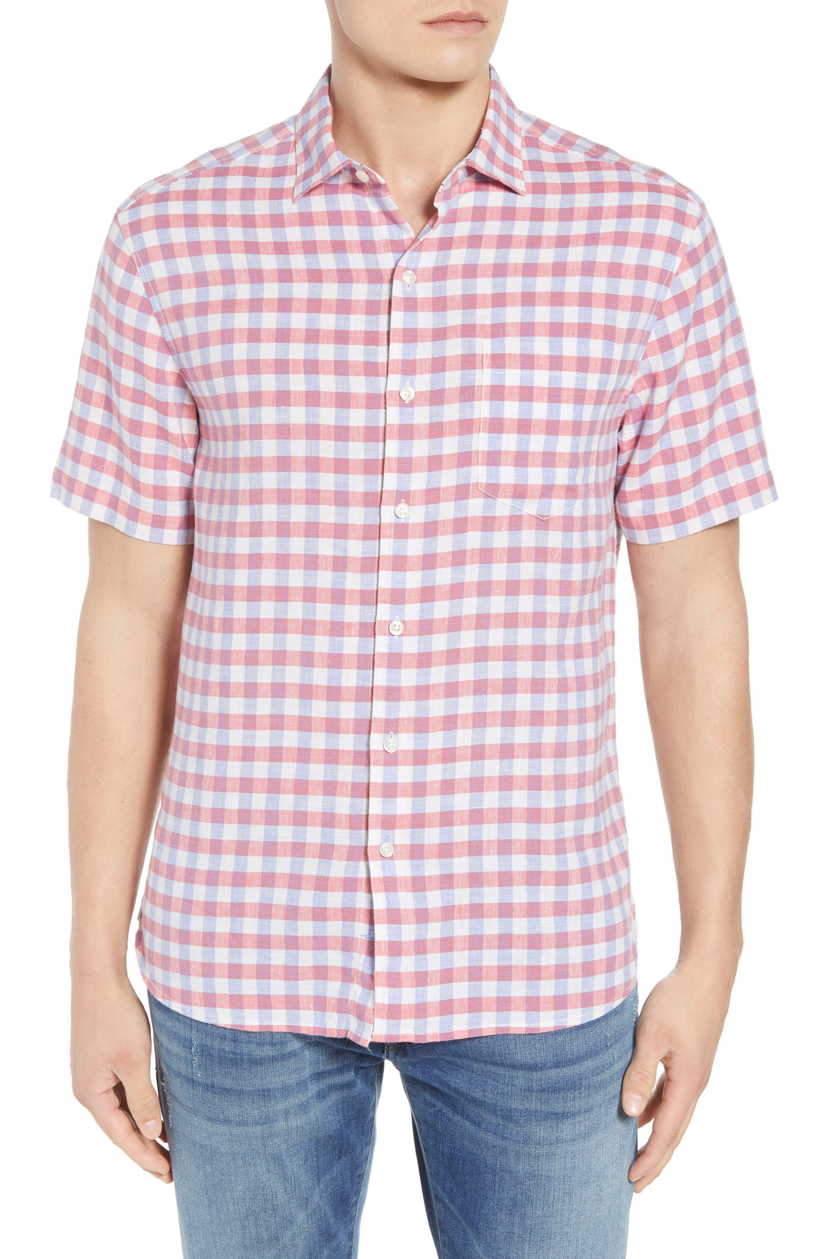 Diego Fronds Check Sport Shirt,                         Main,                         color, Deep Morel