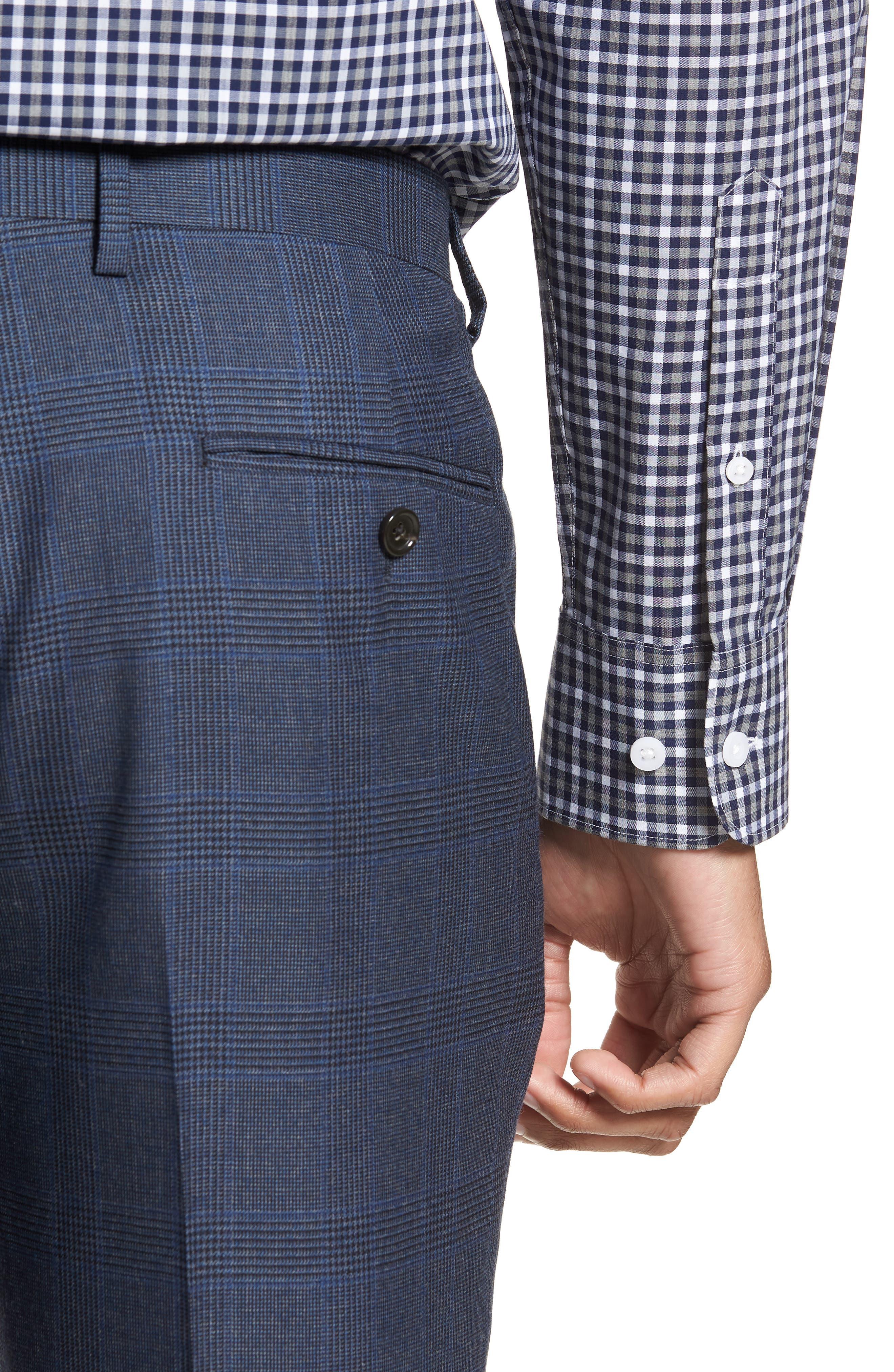Ludlow Trim Fit Glen Plaid Wool Pants,                             Alternate thumbnail 4, color,                             Baltic Blue