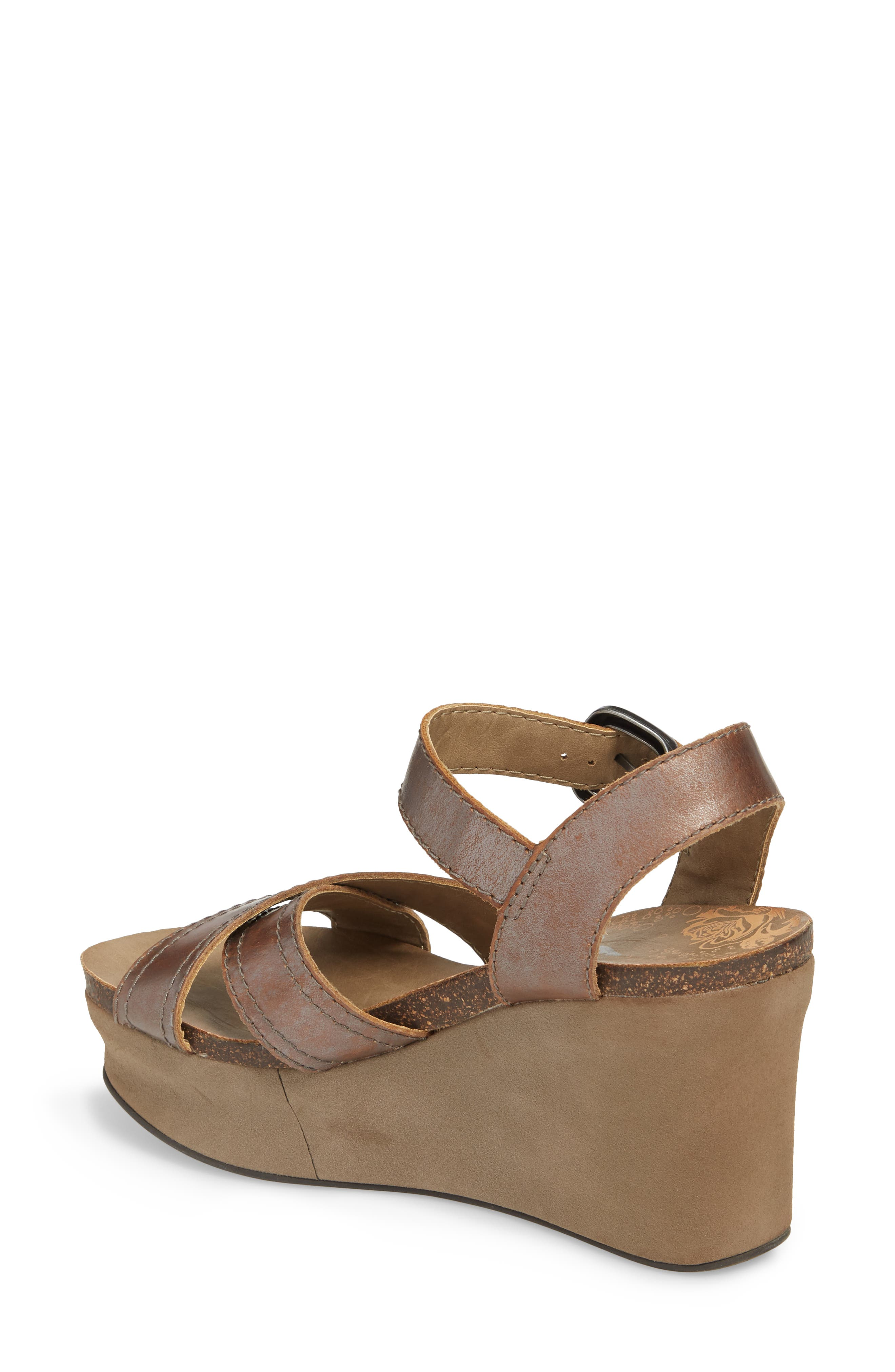 Bee Cave Wedge Sandal,                             Alternate thumbnail 2, color,                             Pewter Leather