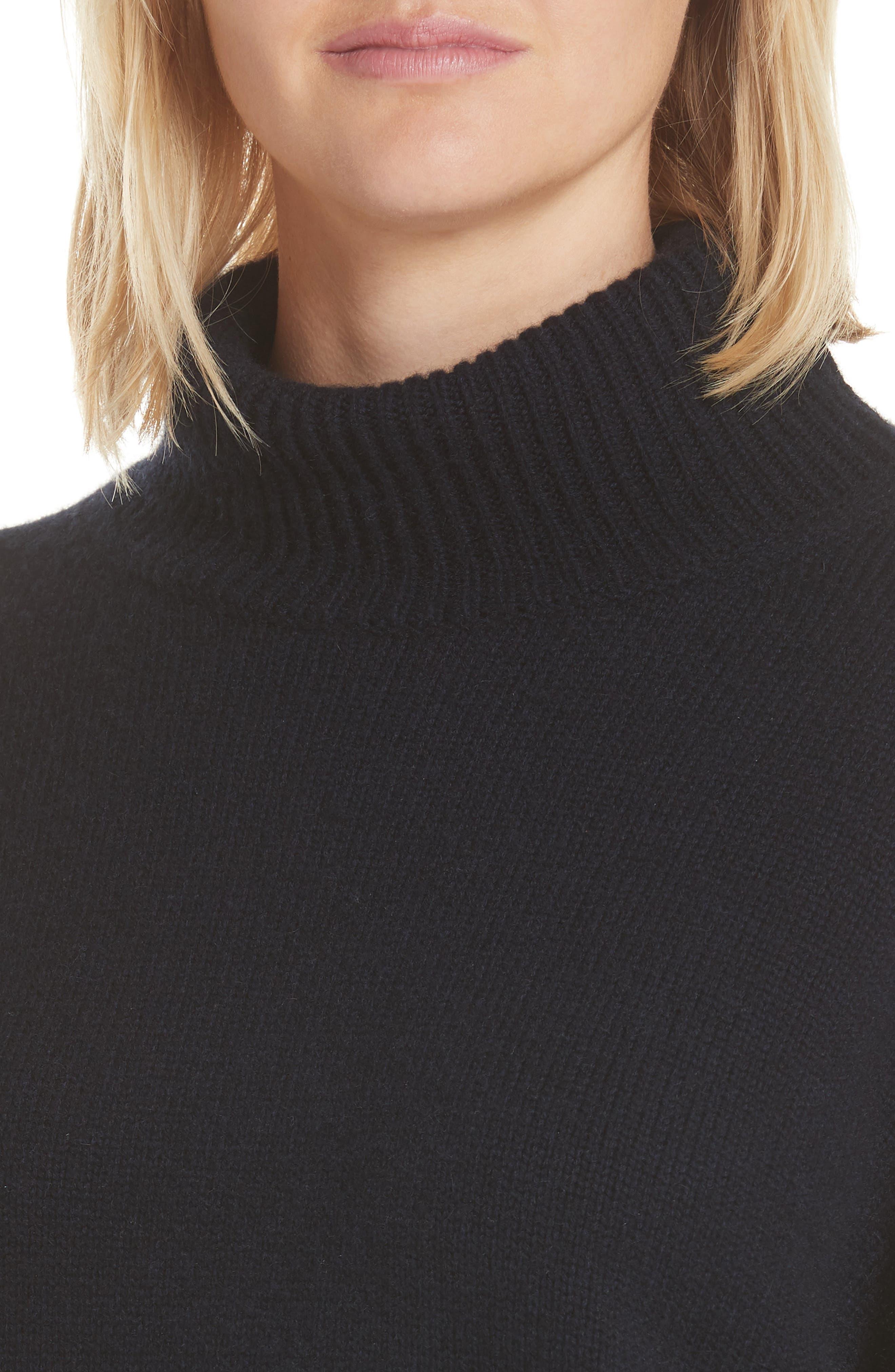 Serinda Wool & Cashmere Turtleneck Sweater,                             Alternate thumbnail 4, color,                             Dark Navy