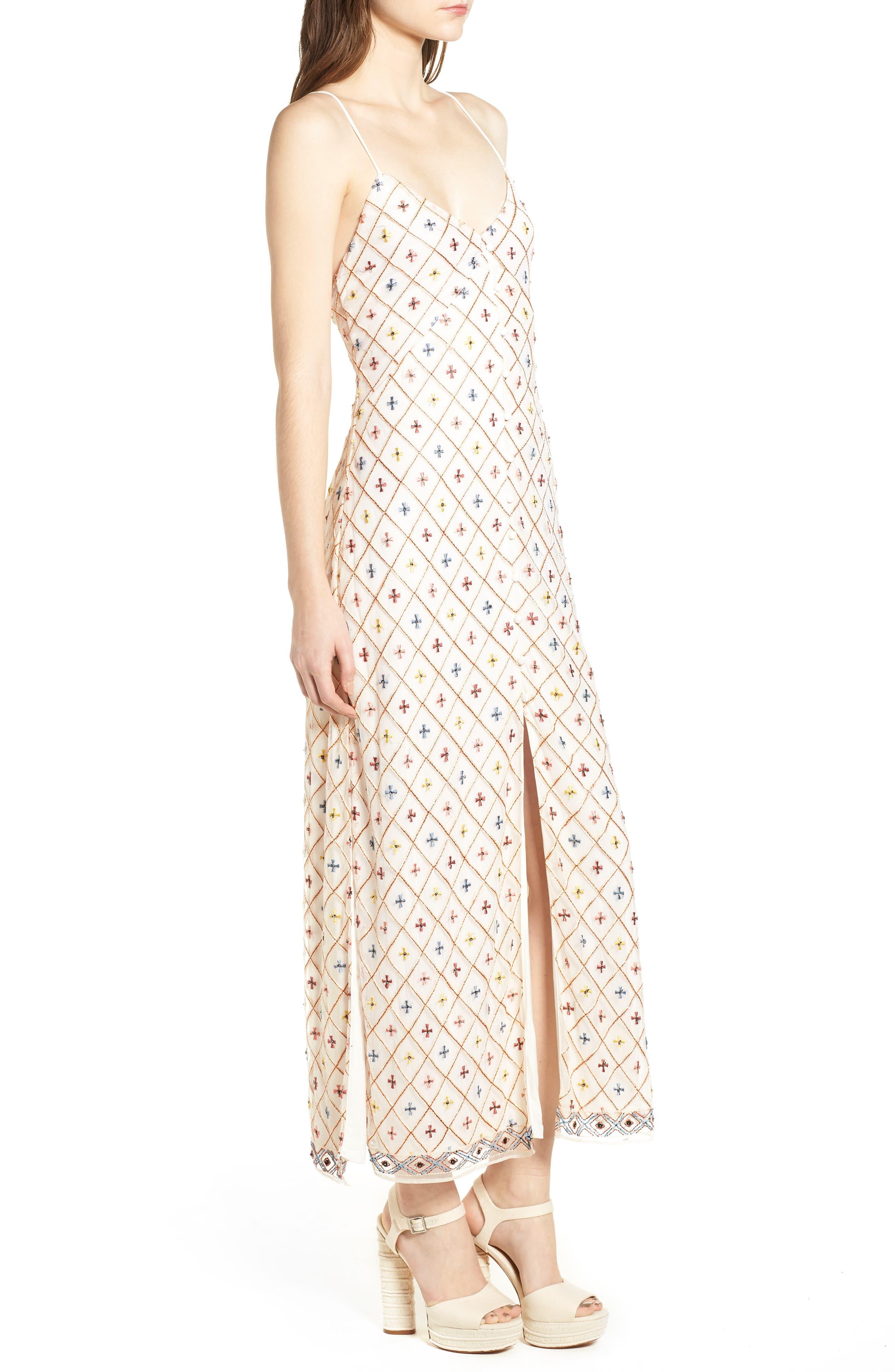 Linda Maxi Dress,                             Alternate thumbnail 3, color,                             Cream