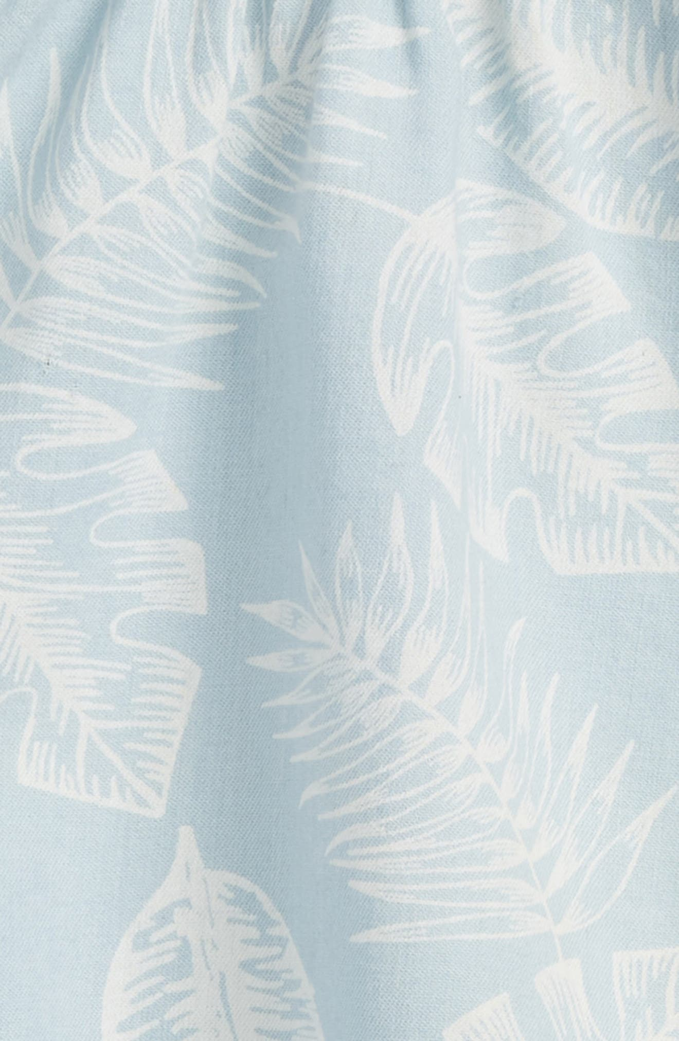 Palm Leaf Chambray Dress,                             Alternate thumbnail 2, color,                             Blue Thread Large Palms