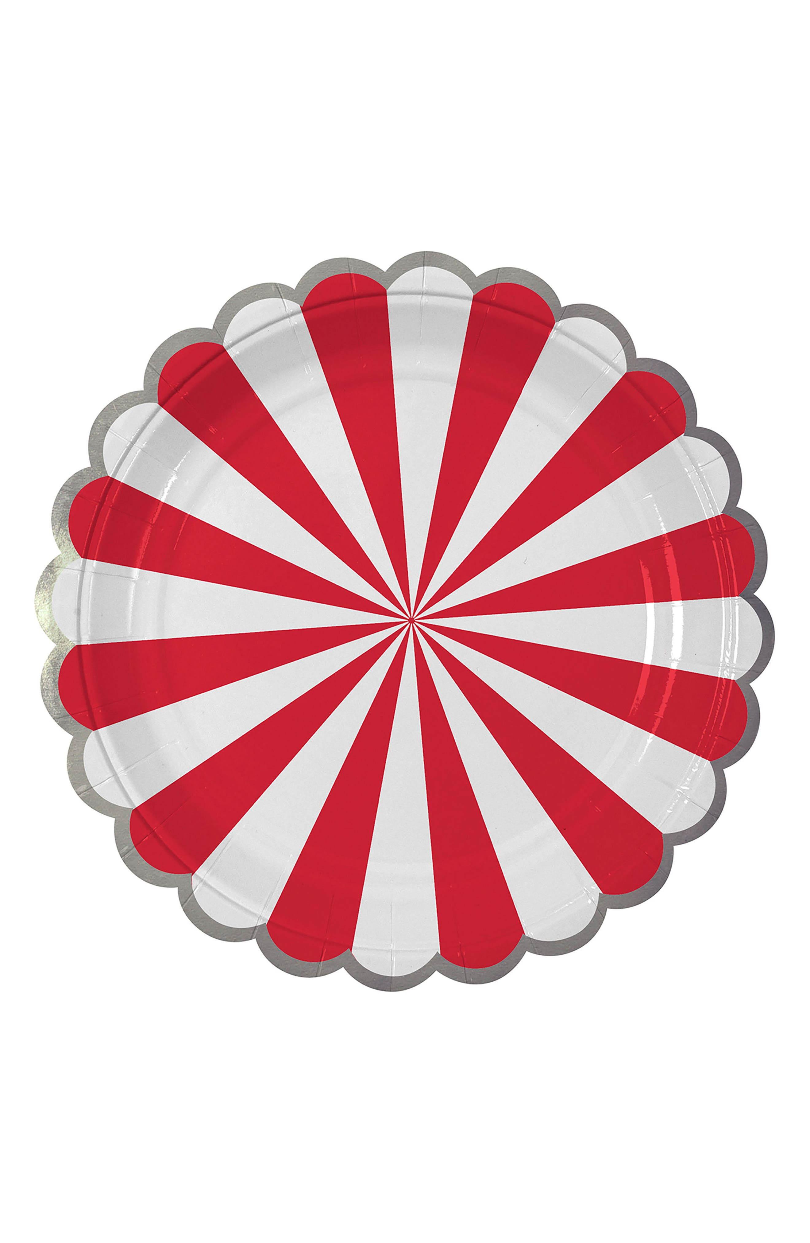 Small Fan Stripe Pack of 8 Plates,                             Main thumbnail 1, color,                             Red