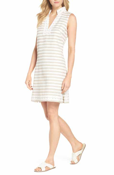f14662b8dc0 Eliza J Stripe Linen   Cotton Blend Sundress