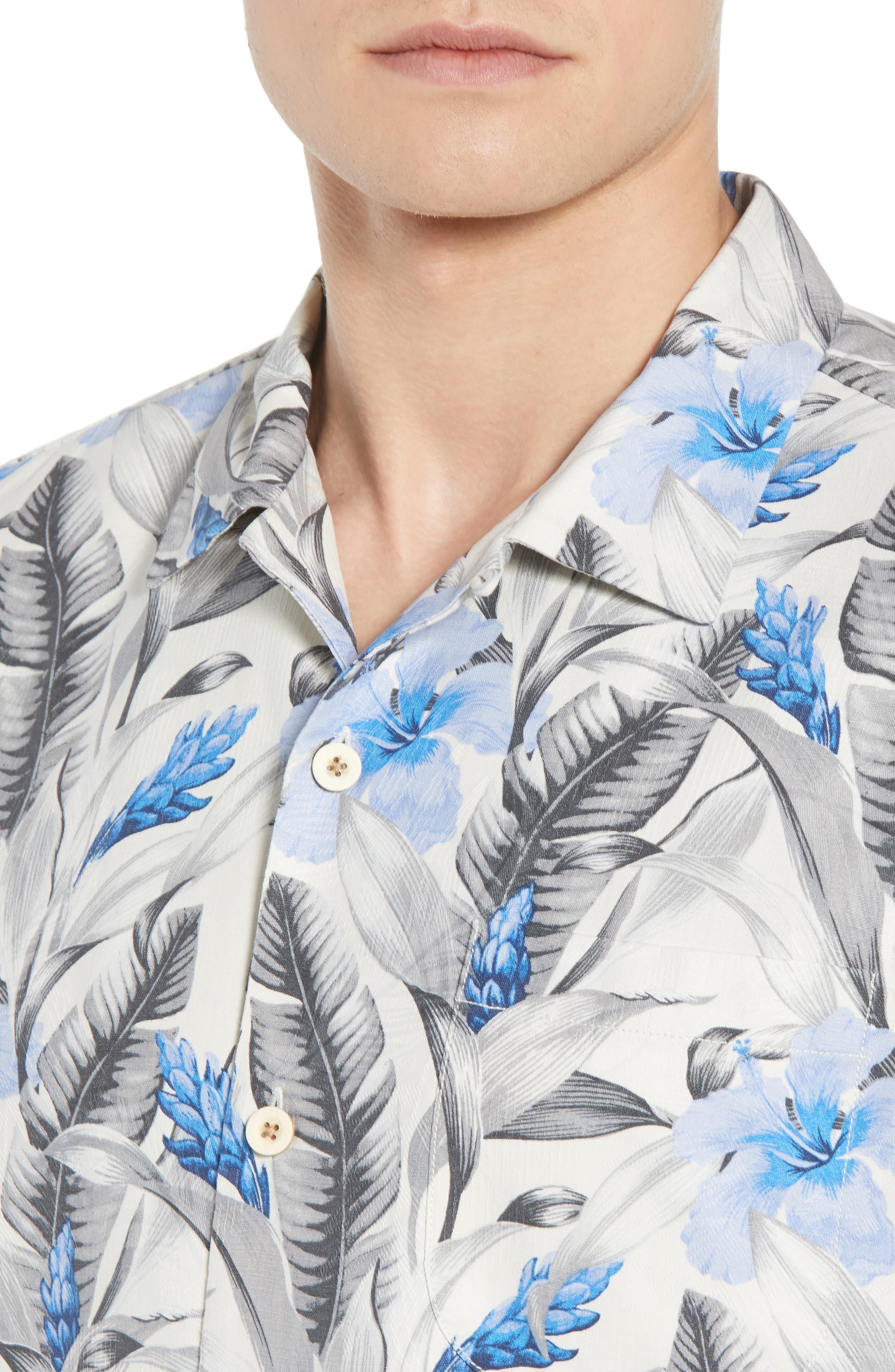 Tulum Bloom Silk Camp Shirt,                             Alternate thumbnail 2, color,                             Marble Cream