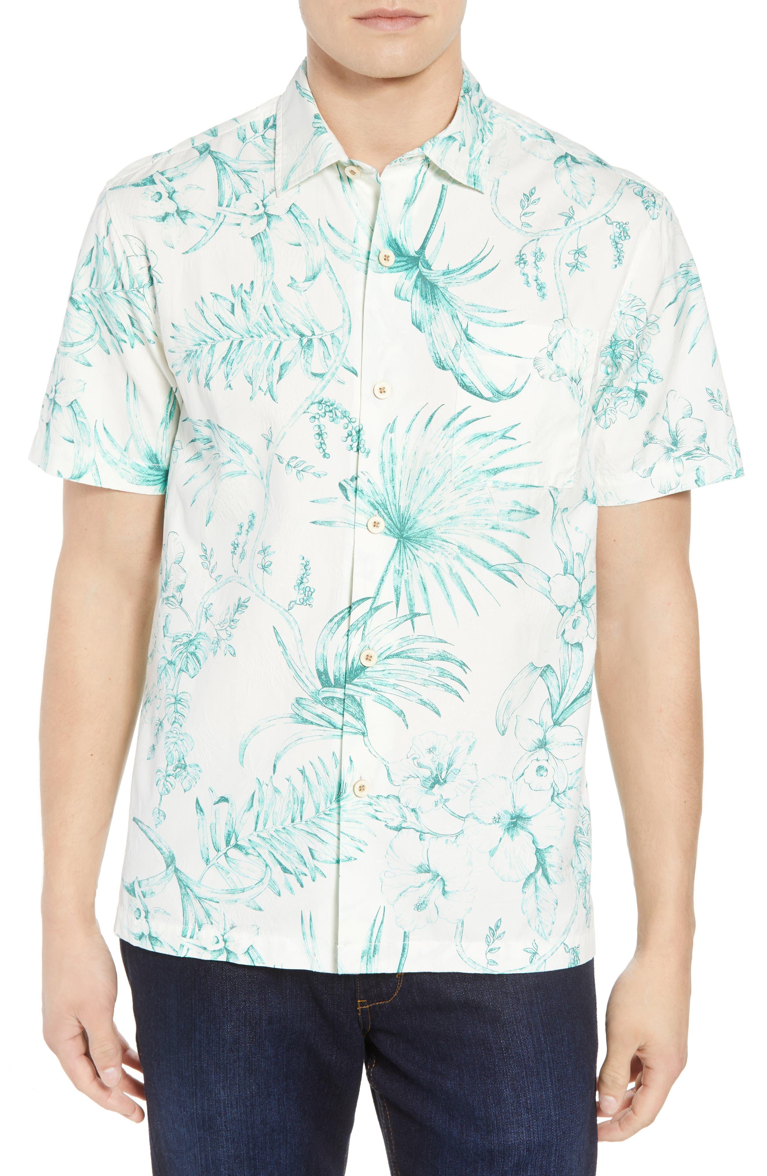 El Botanico Regular Fit Cotton & Silk Sport Shirt,                         Main,                         color, Marble Cre