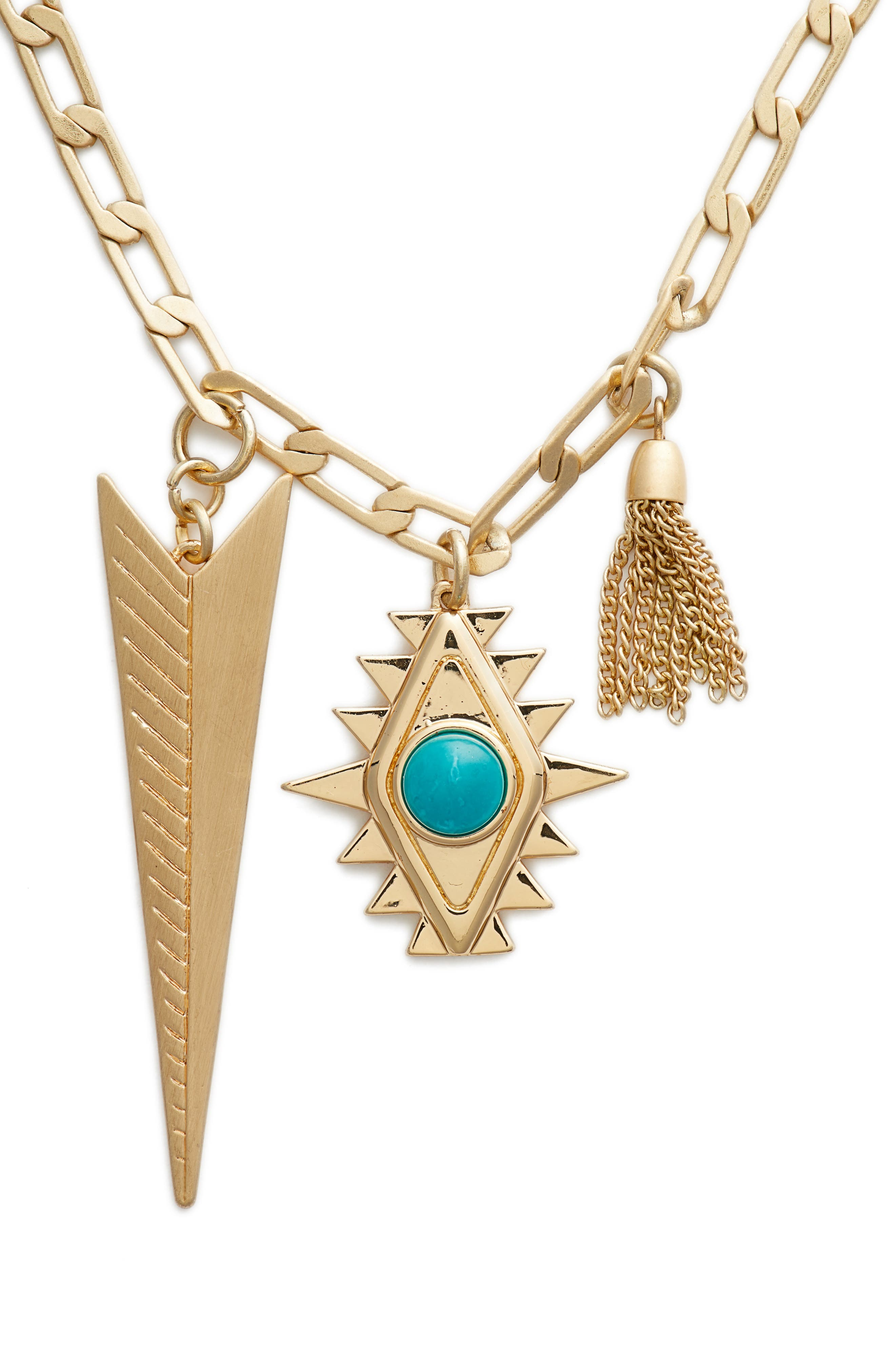 Arrowhead Pendant Necklace,                             Alternate thumbnail 2, color,                             Gold