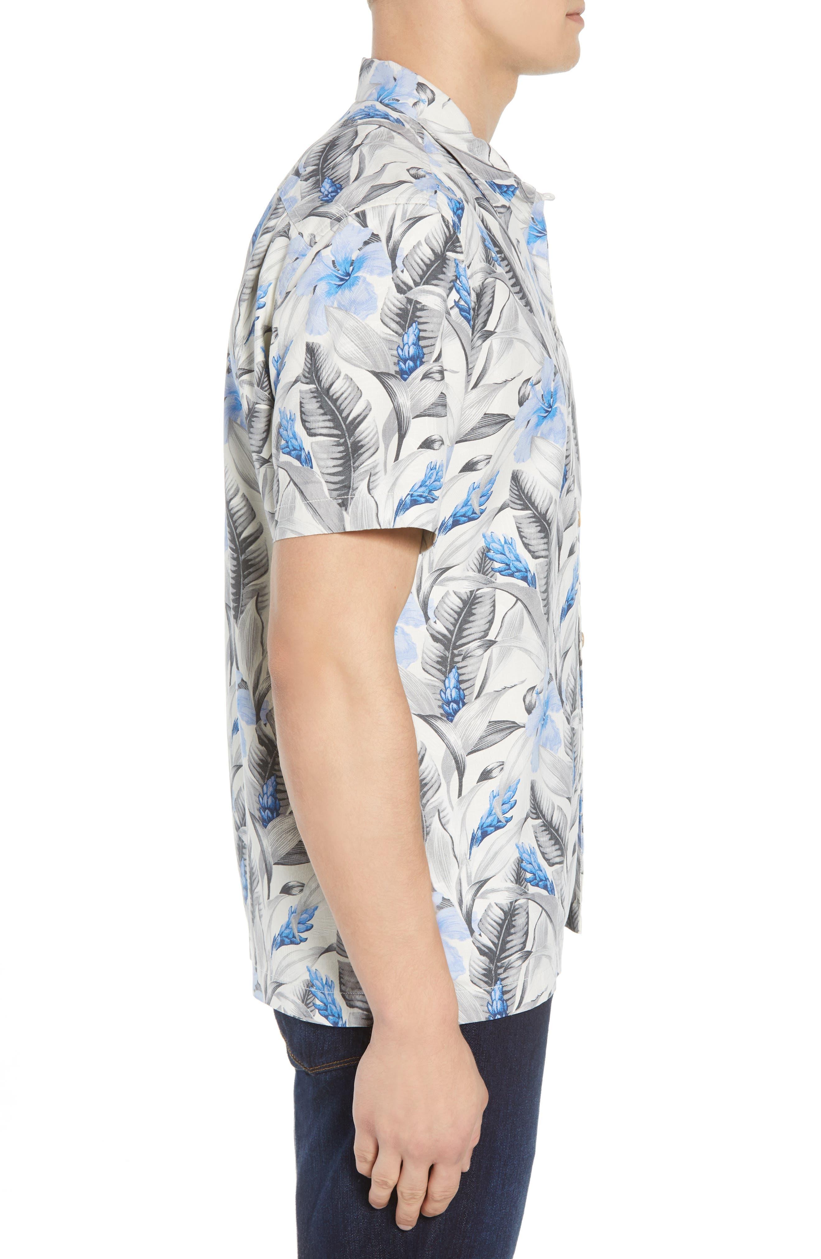 Tulum Bloom Silk Camp Shirt,                             Alternate thumbnail 4, color,                             Marble Cream