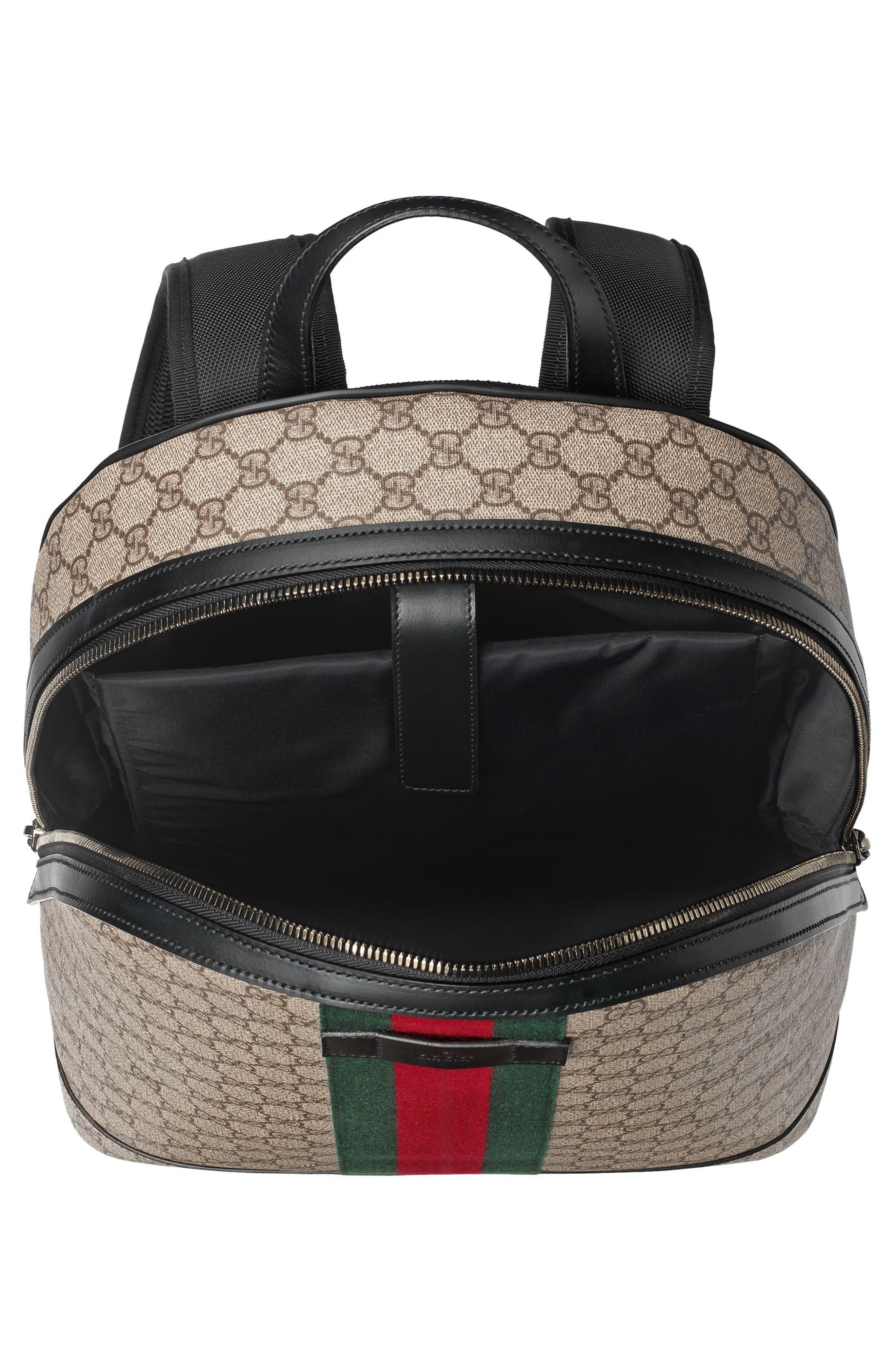 Supreme Stripe Backpack,                             Alternate thumbnail 4, color,                             Beige